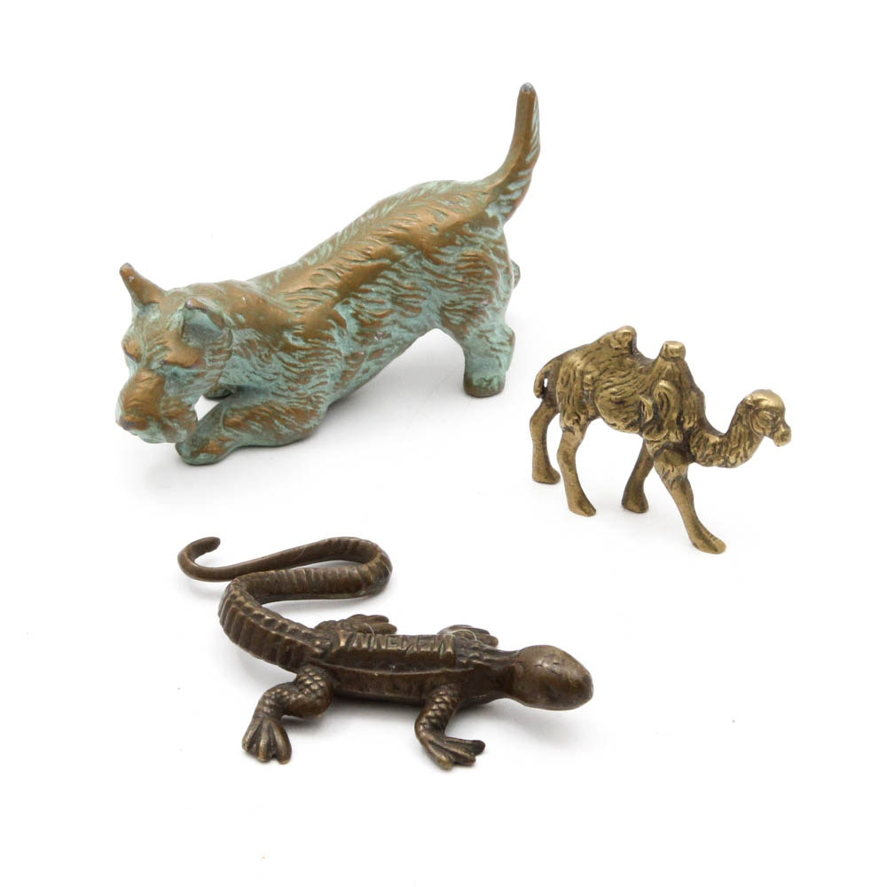 Cast Metal Animal Paperweights Featuring Scottie Dog, Salamander and Camel