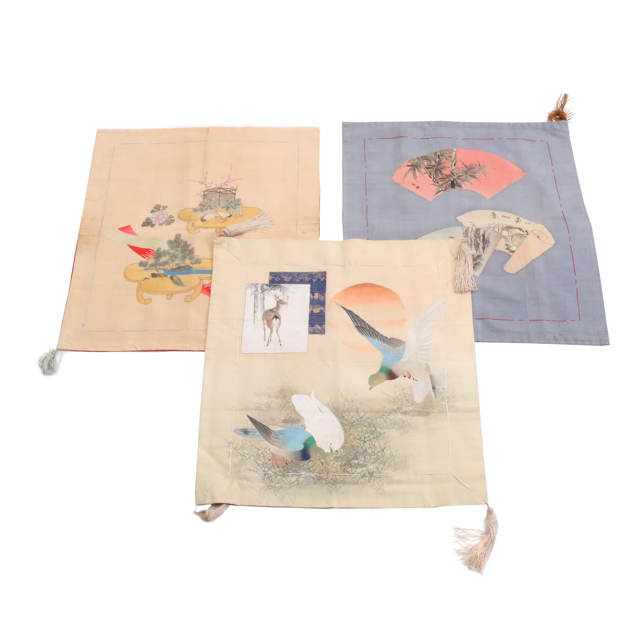 Vintage Hand Stenciled Japanese Pillow Covers