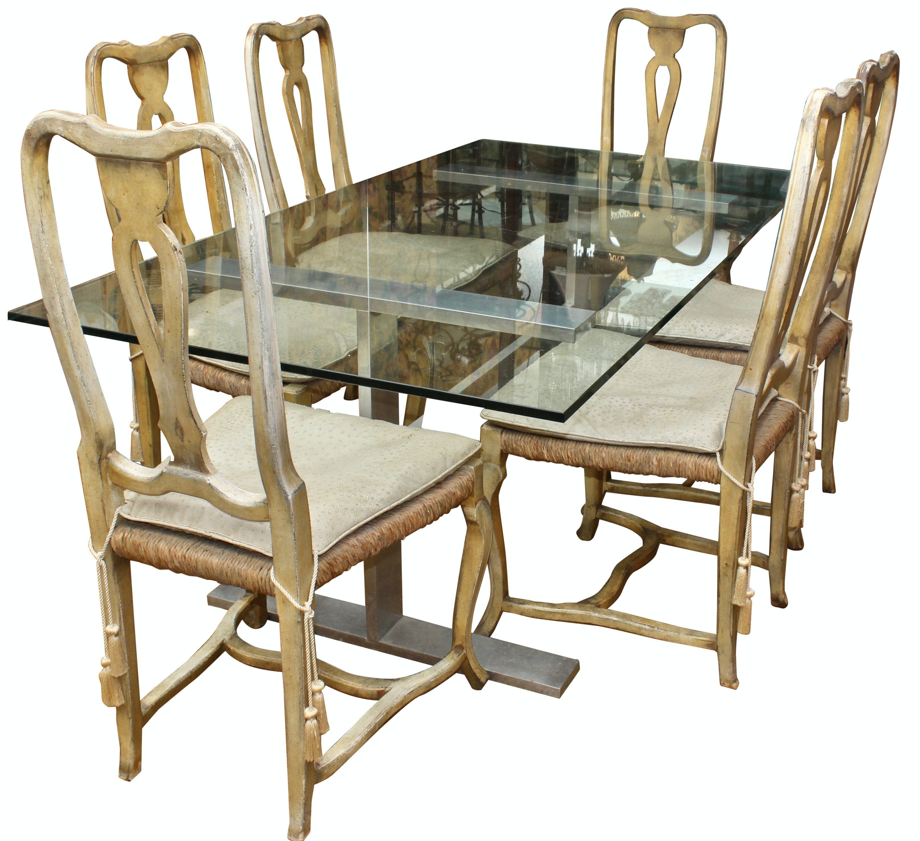 Glass Dining Table and Rattan Chairs