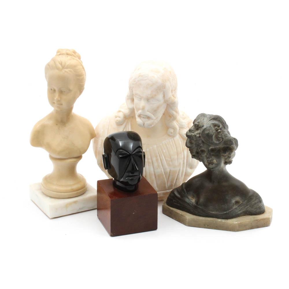 Vintage Bust Sculptures Featuring Jesus, Empress Elisabeth of Austria