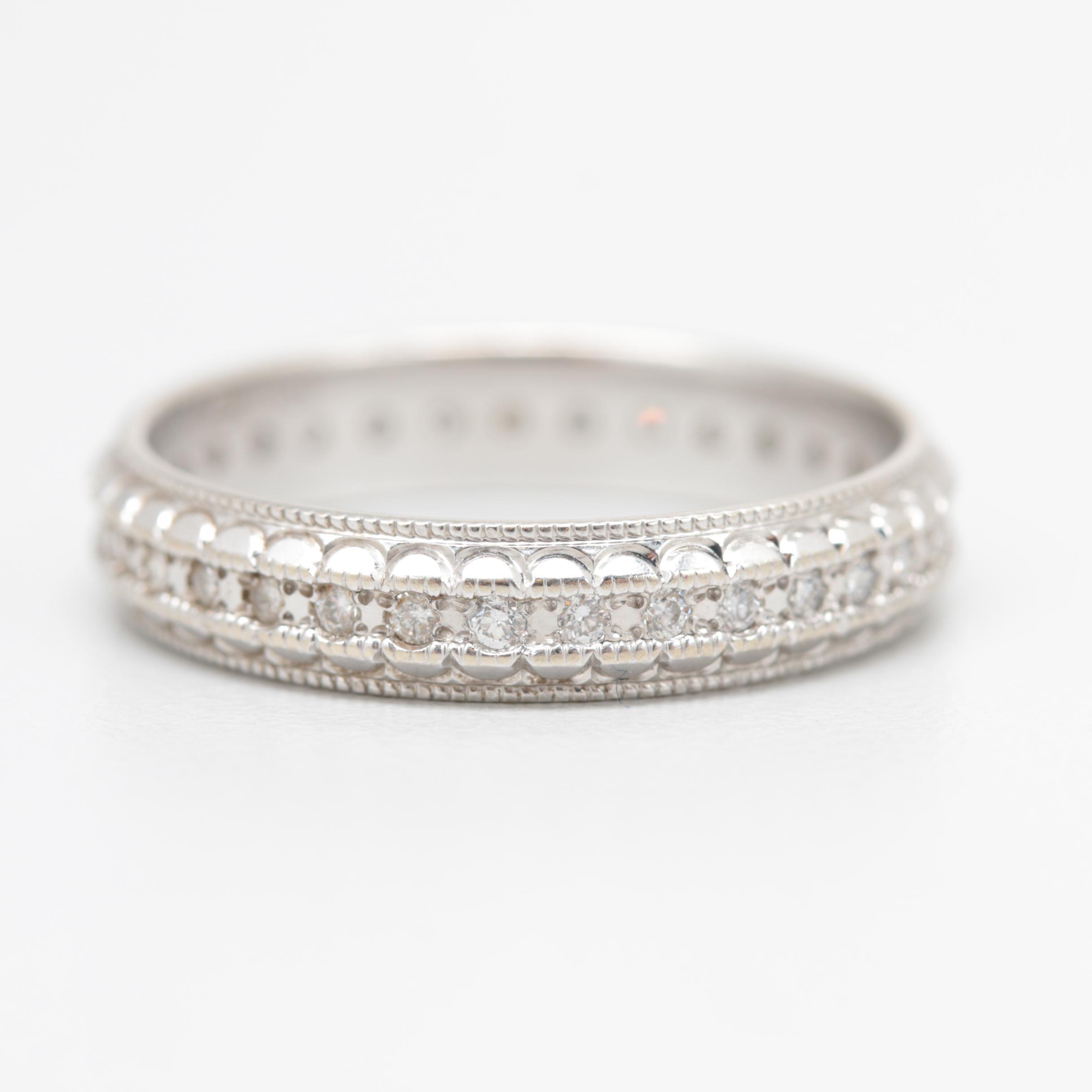 14K White Gold Diamond Eternity Band Ring