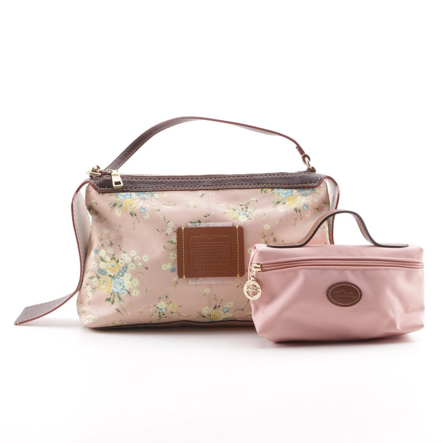 Coach Pink Floral Leather Handbag With Longchamp Pink Leather Zip