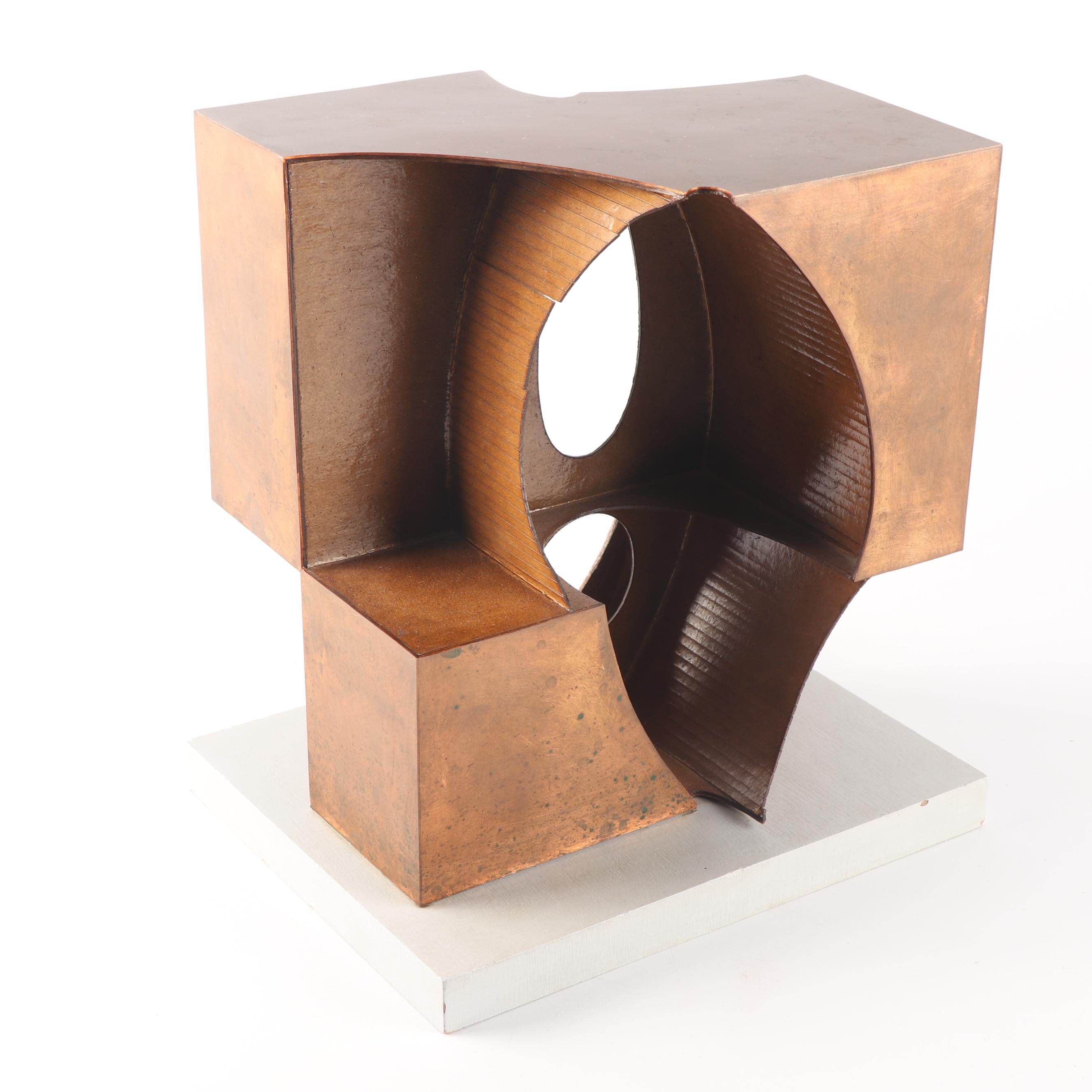 """John Cunningham 1979 Copper and Board Cubist Style Maquette """"Sentinel"""""""