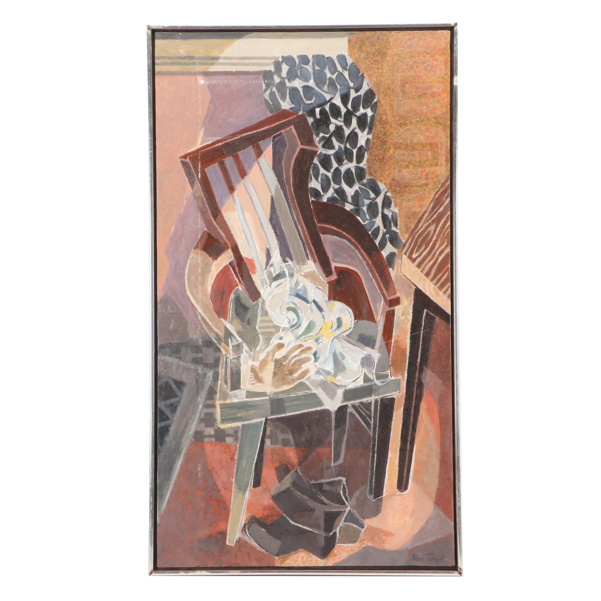 Alan Tompkins Mid-Century Cubist Still Life Oil Painting