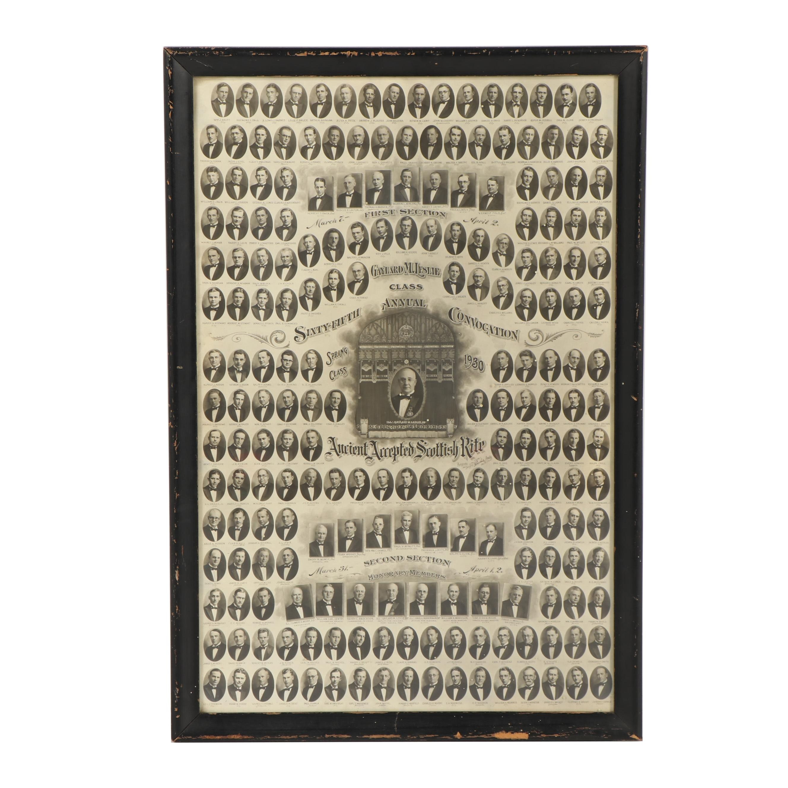 """1930 """"Ancient Accepted Scottish Rite"""" 65th Annual Convocation Class Photograph"""