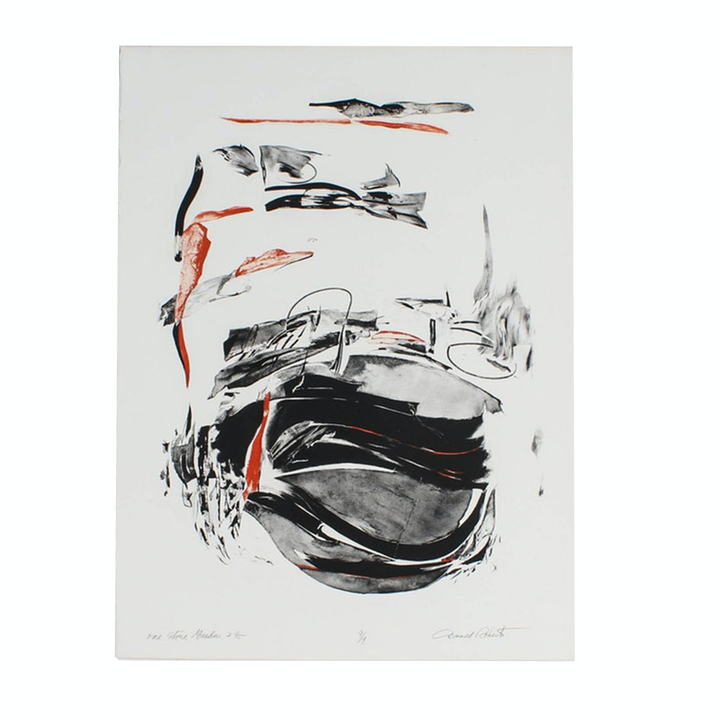 """Donald Roberts Abstract Embellished Serigraph """"One Stone Garden"""""""