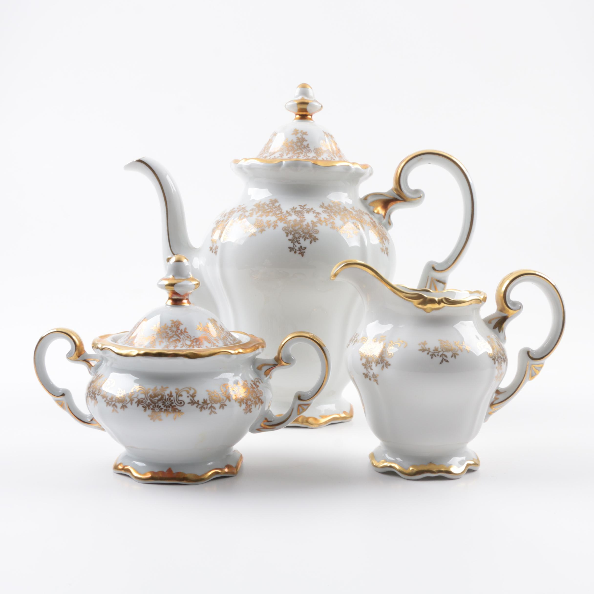 Weimar Katharina 14051 Gold And White Porcelain Coffee Service