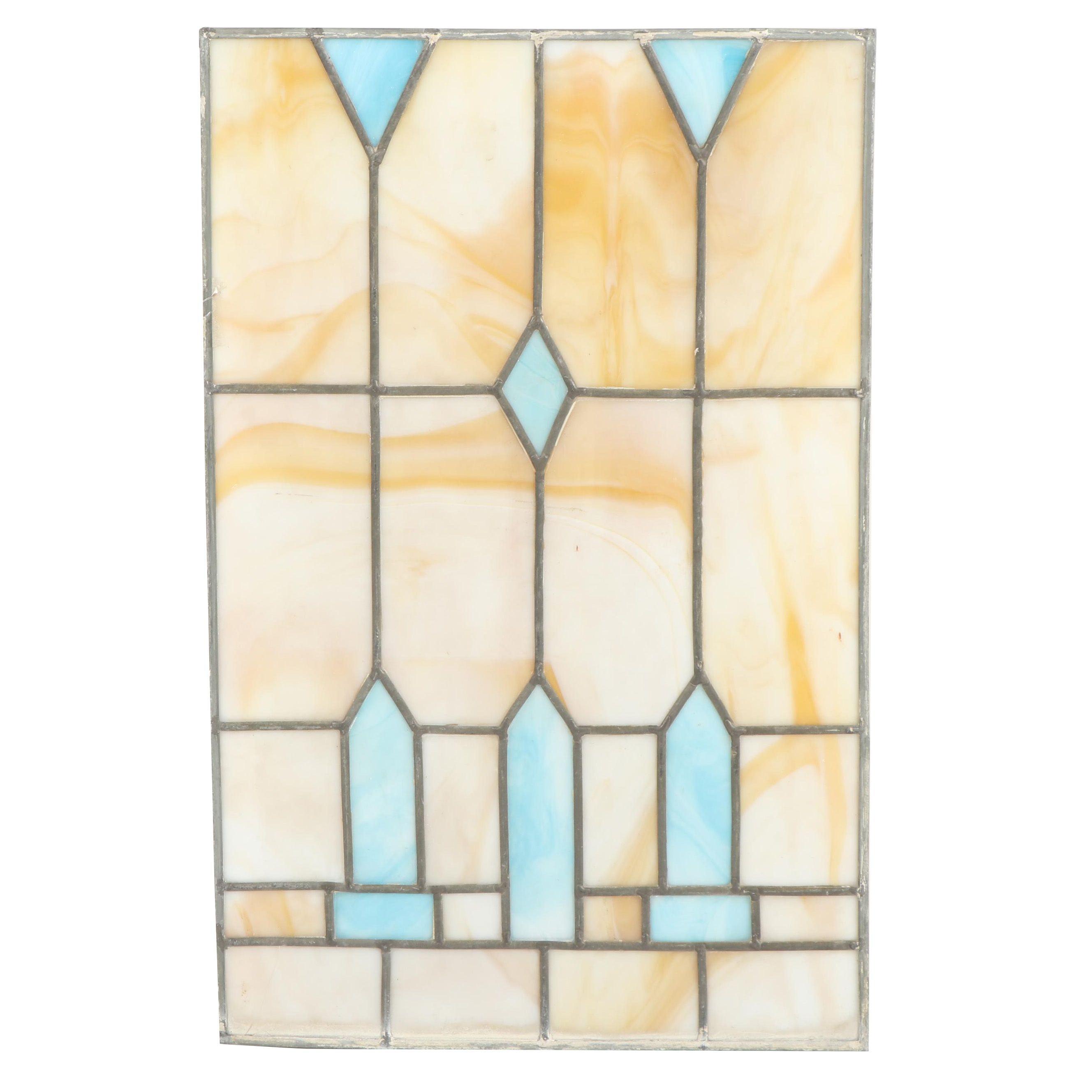 Vintage Slag Glass Window Panel