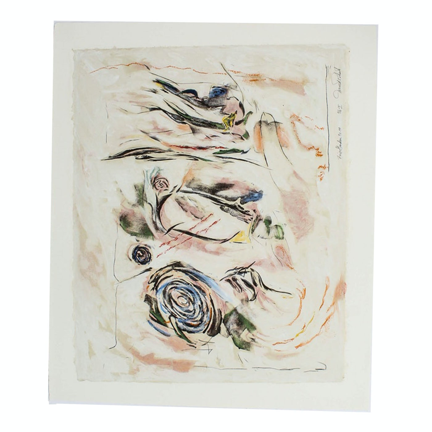 """Donald Roberts Abstract Embellished Serigraph """"Fire Garden"""""""