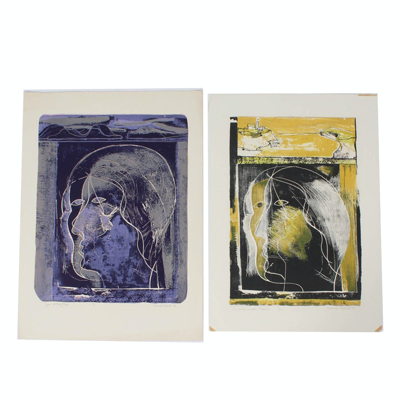 Donald Roberts Mid-Century Abstract Portrait Serigraphs