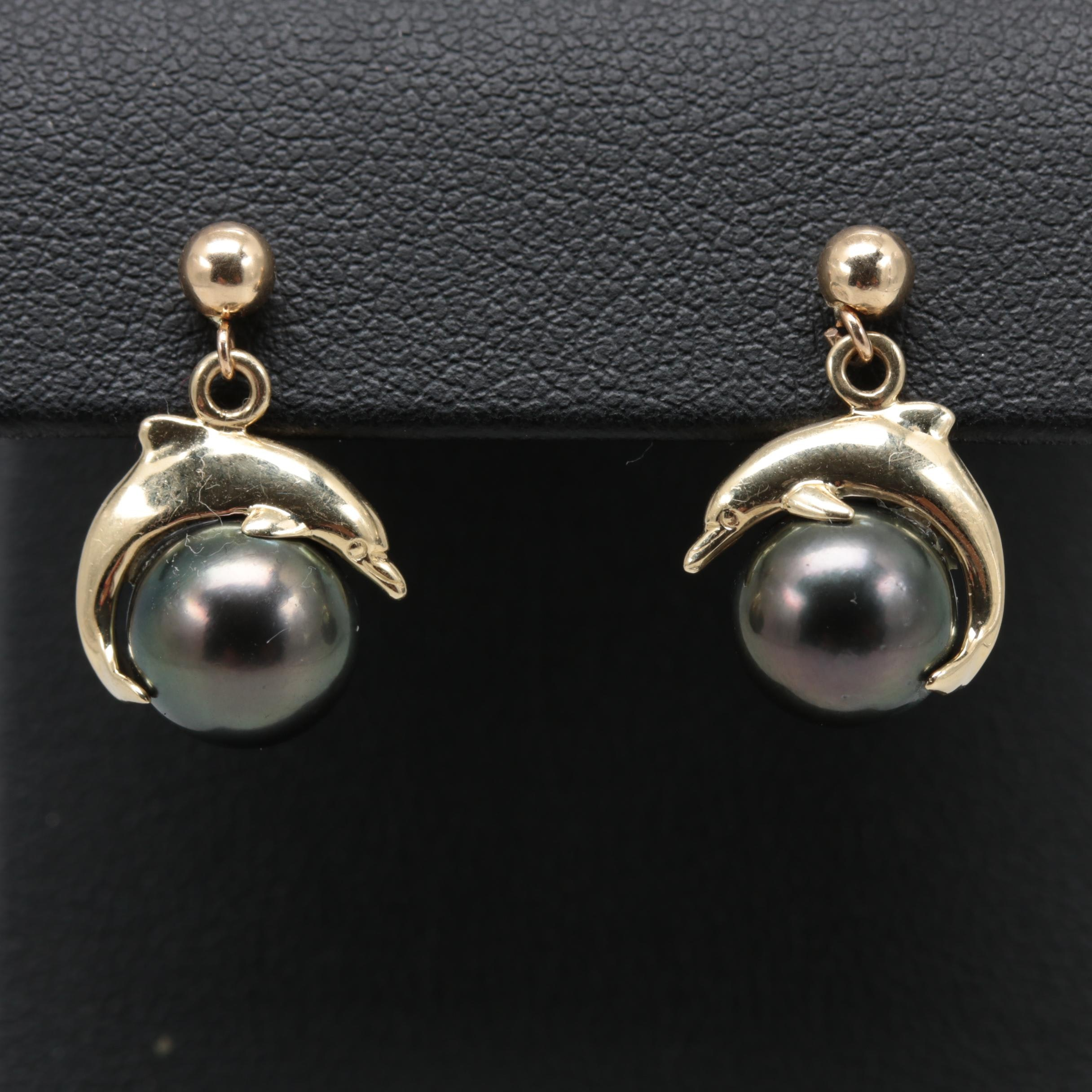 14K Yellow Gold Cultured Pearl Dolphin Earrings