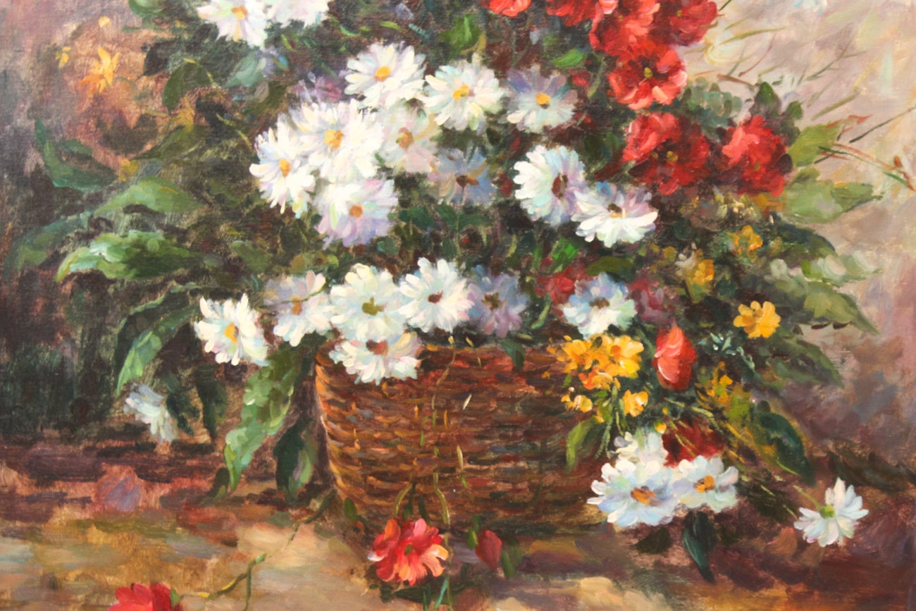 RED FLOWERS FOR LOVE - Original Oil Painting On Canvas By