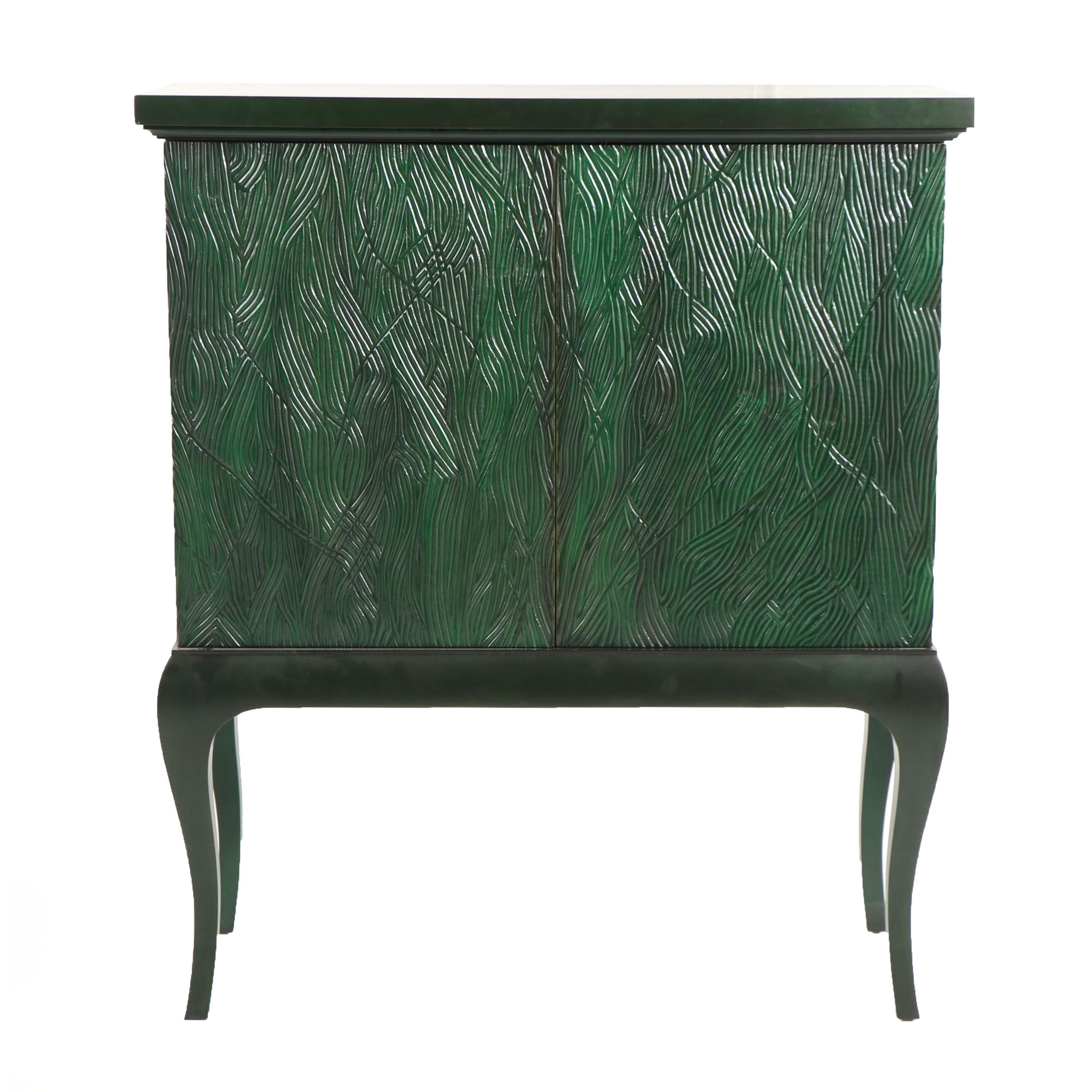 Contemporary Green Painted Carved Wood Cabinet
