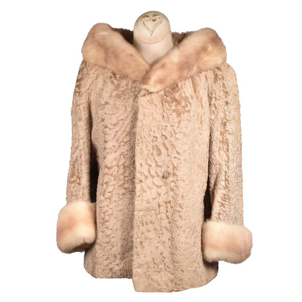 Women's Vintage Blonde Persian Lamb and Mink Fur Jacket