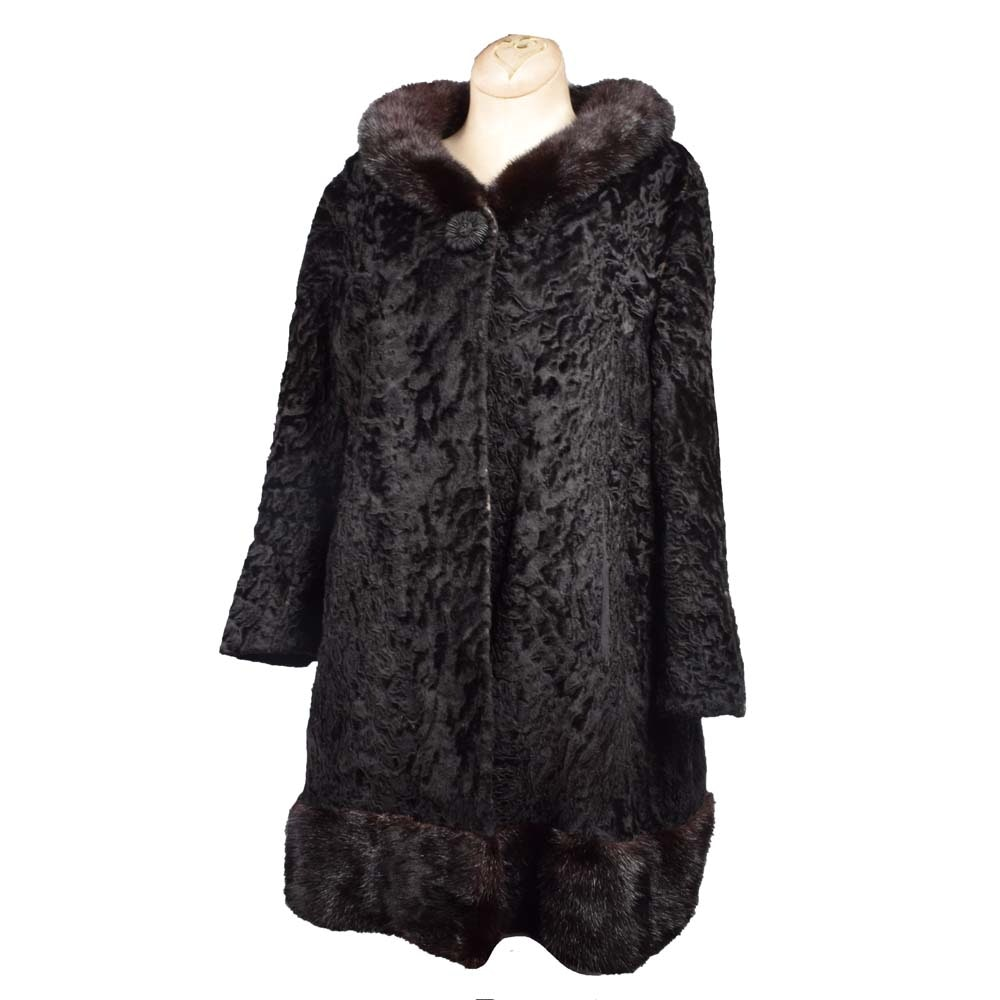 Women's Vintage S. Levitt Black Persian Lamb and Mink Fur Coat