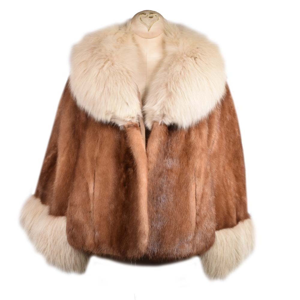 Vintage Mink and Arctic Fox Fur Capelet