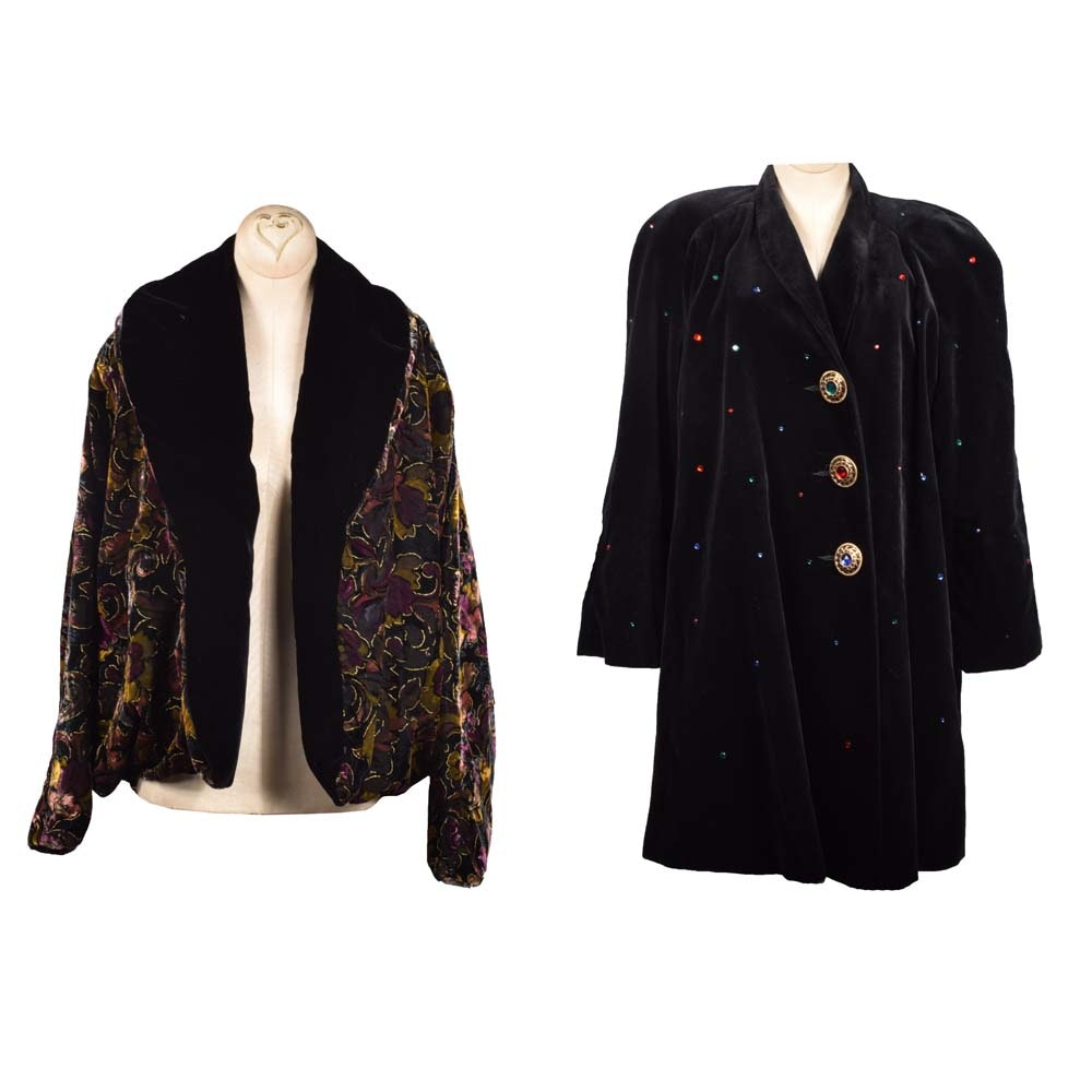 Embellished Velvet Coat and Merle of Chicago Velvet Open Front Jacket