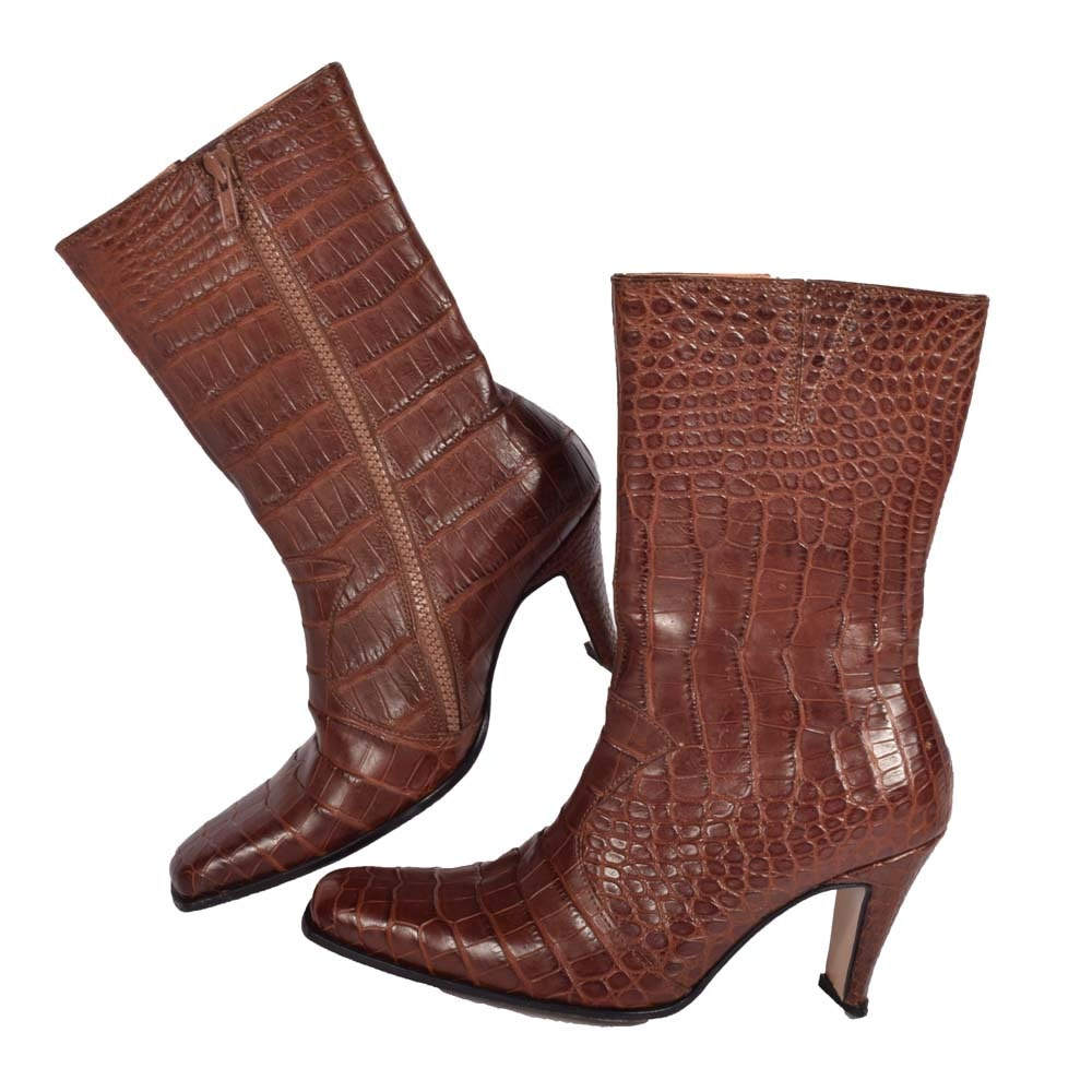 Max Leather Crocodile Embossed Brown Leather Calf Boots