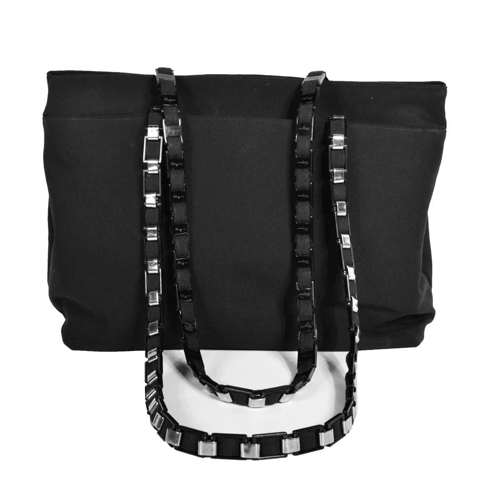 Salvatore Ferragamo Vala Chain Black Nylon Shoulder Tote