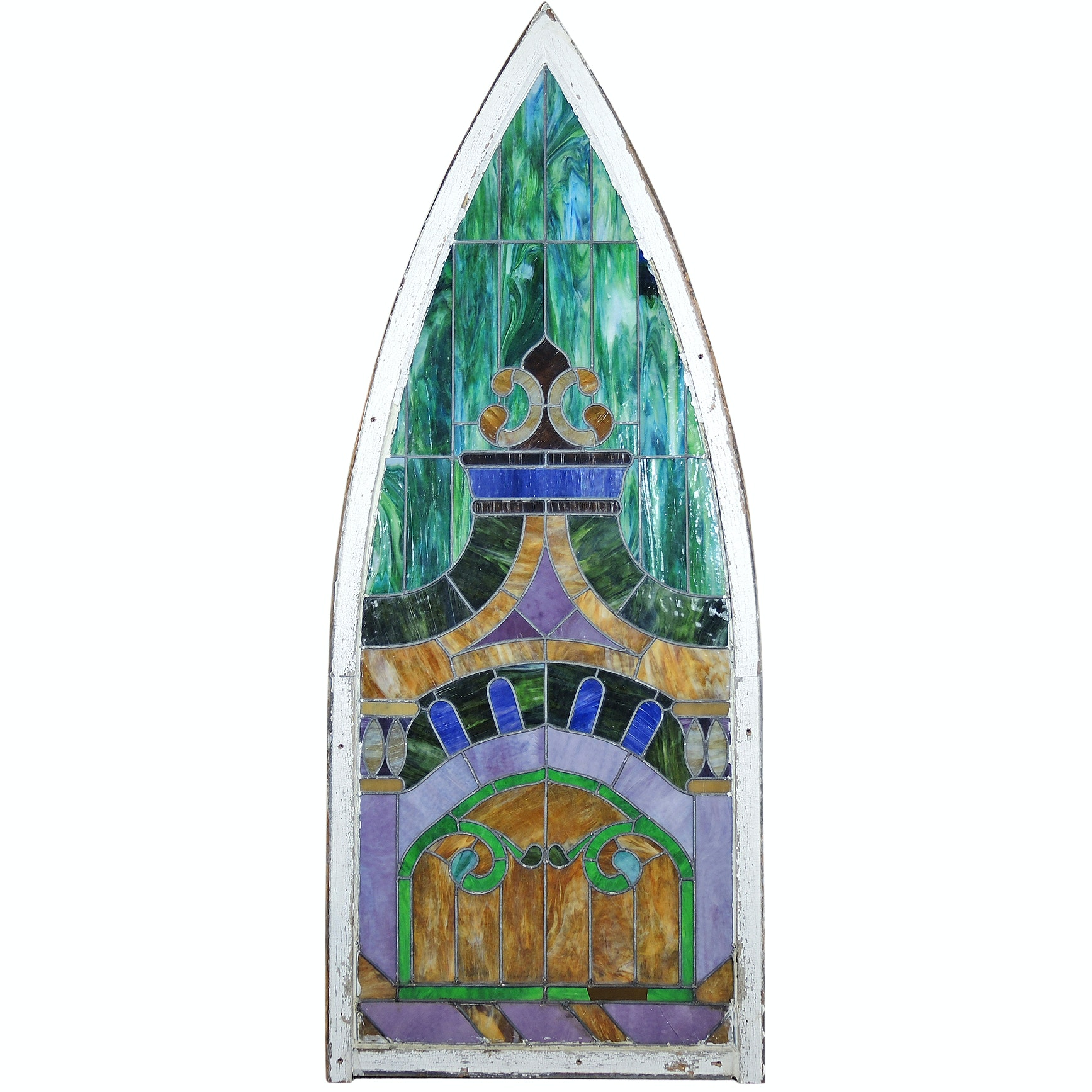 Pointed-Arch Slag Glass Window