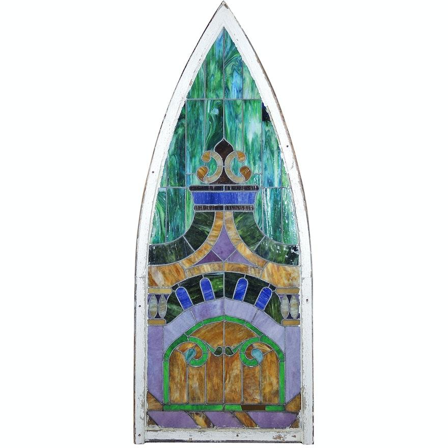 Pointed-Arch Slag Glass Window