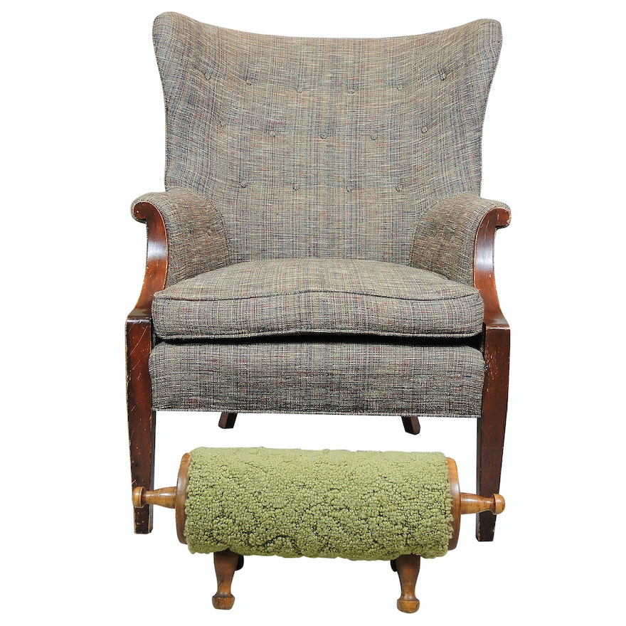 Highback Armchair with Footrest