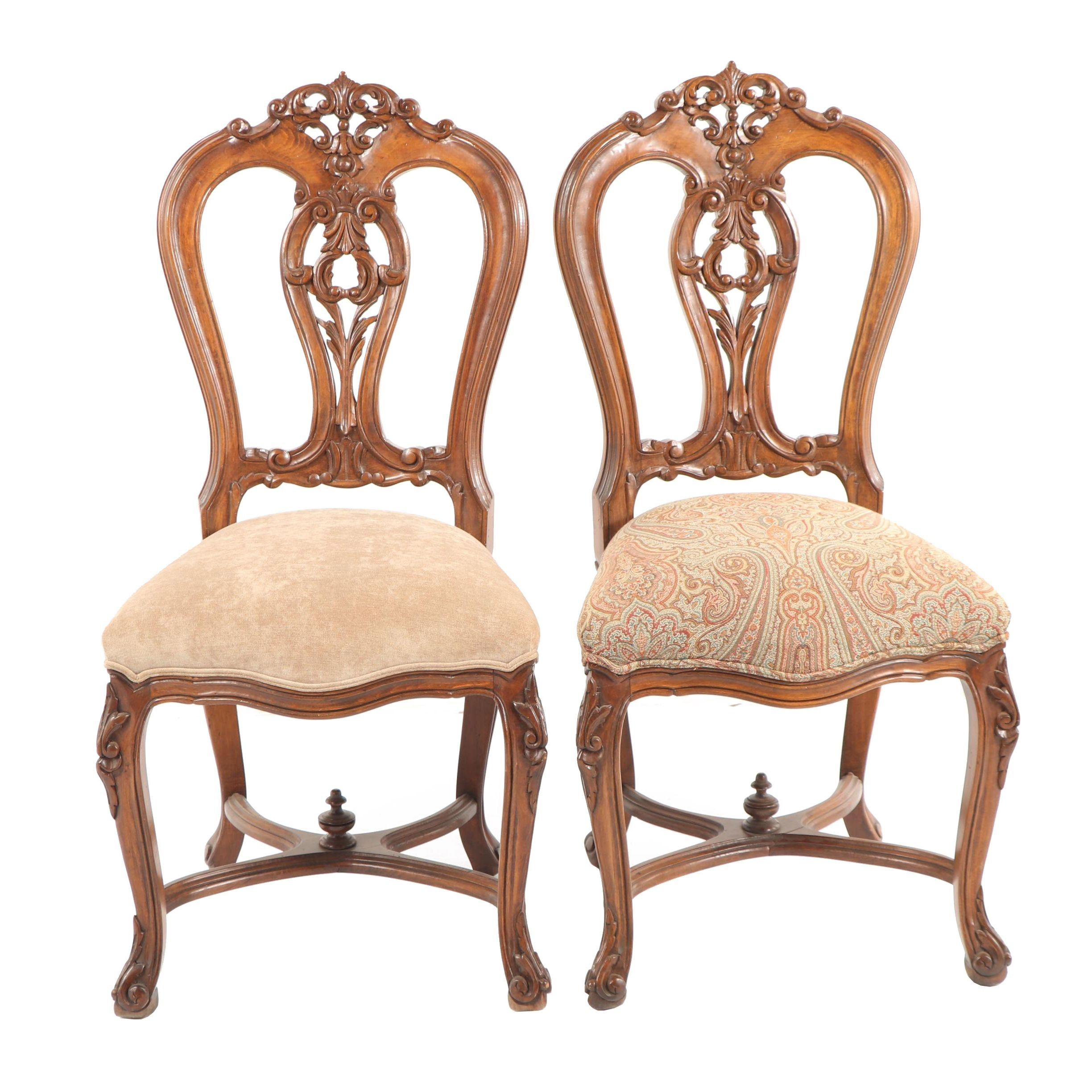 Victorian Style Side Chairs, Late 20th Century