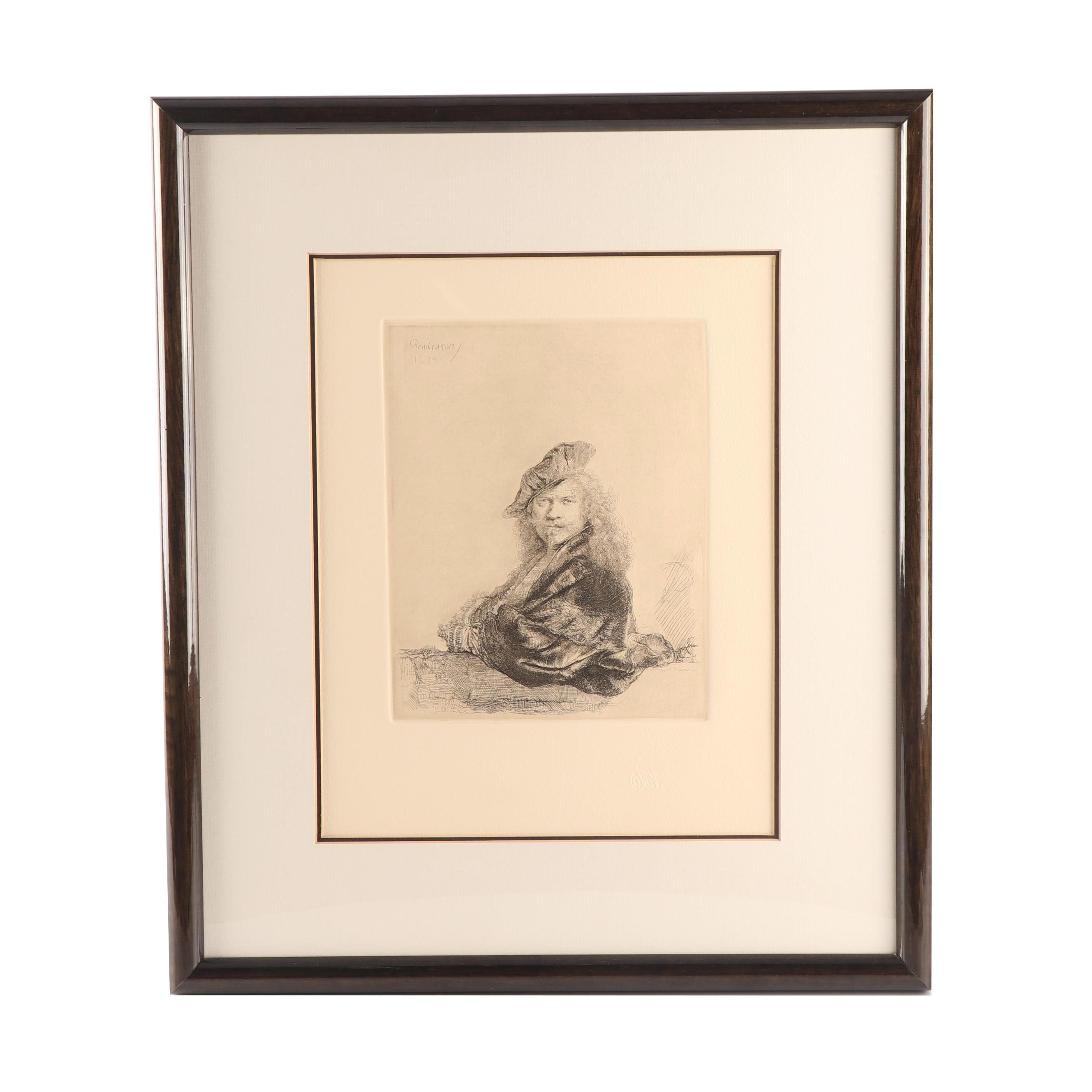 """Armand Durand Etching after Rembrandt """"Self Portrait Leaning on a Stone Sill"""""""