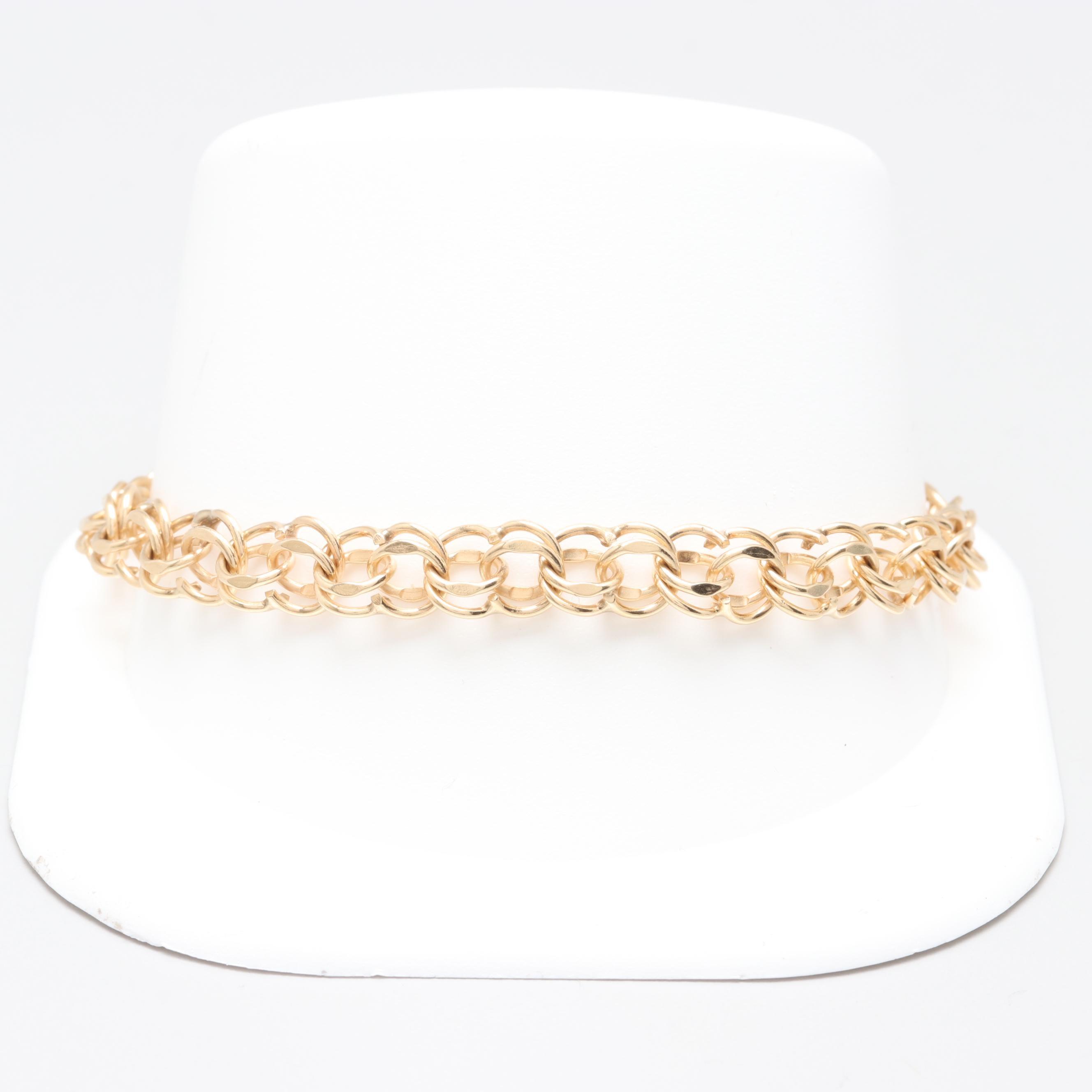 14K Yellow Gold Fancy Link Chain Bracelet