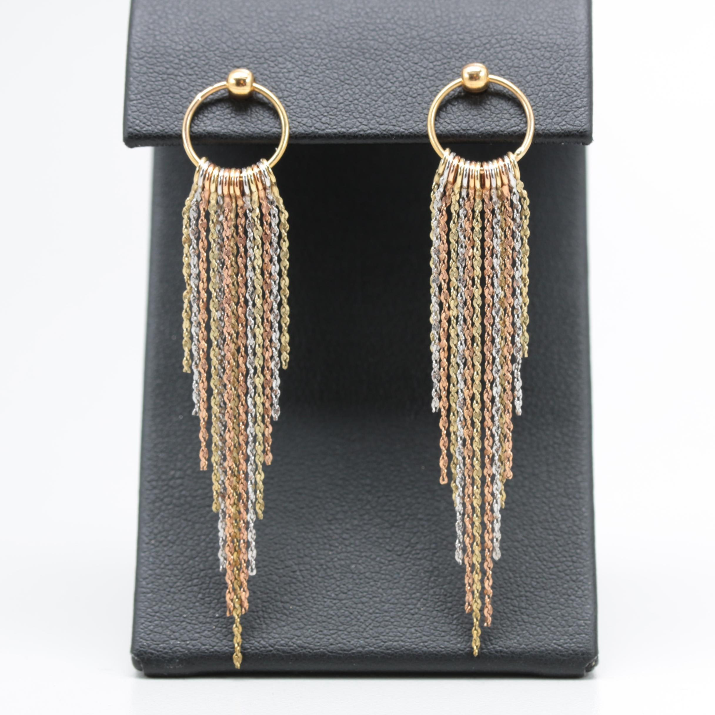 14K Yellow, Rose, and White Gold Dangle Earrings