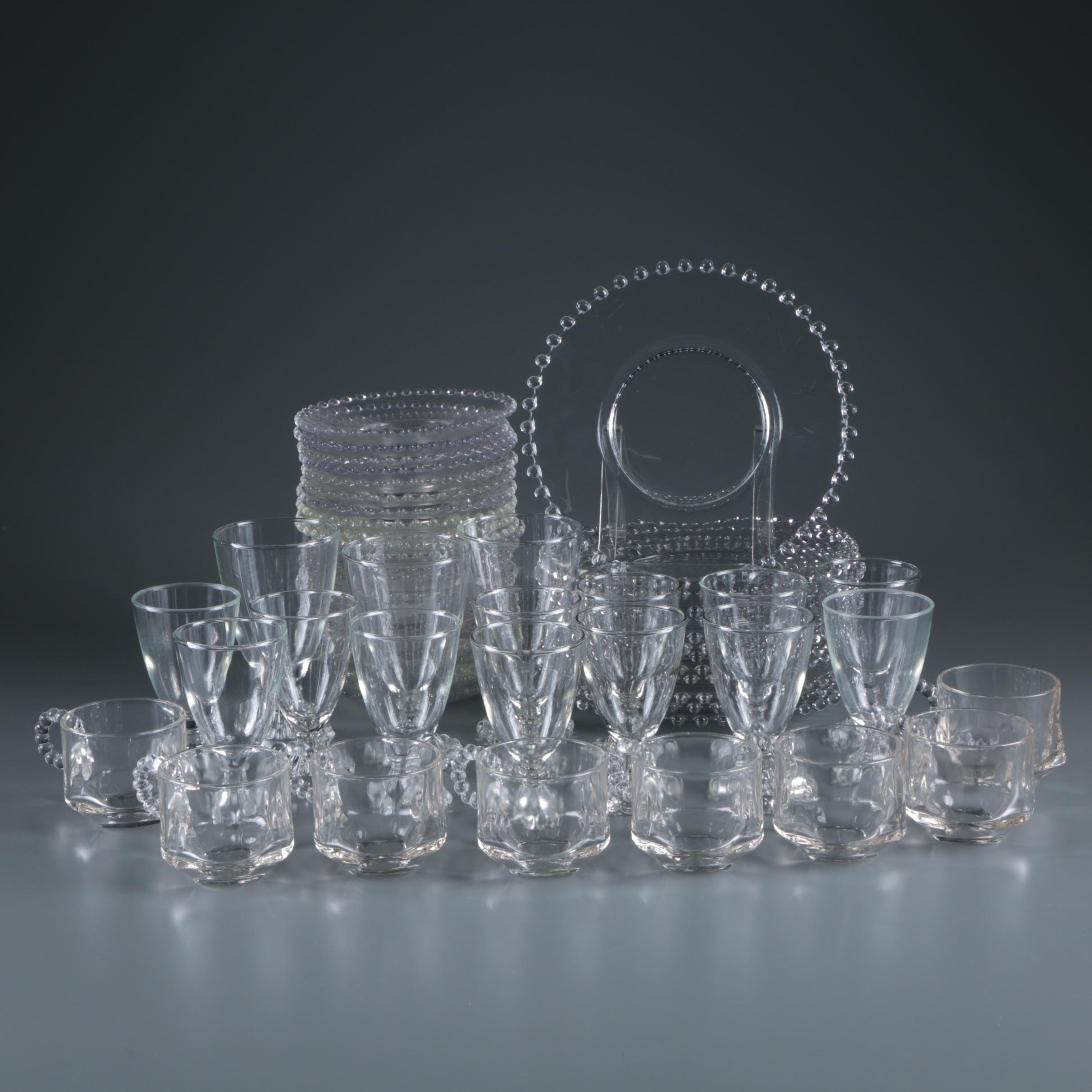 """Imperial Glass """"Candlewick Clear"""" Cups and Plates c. 1936-84"""