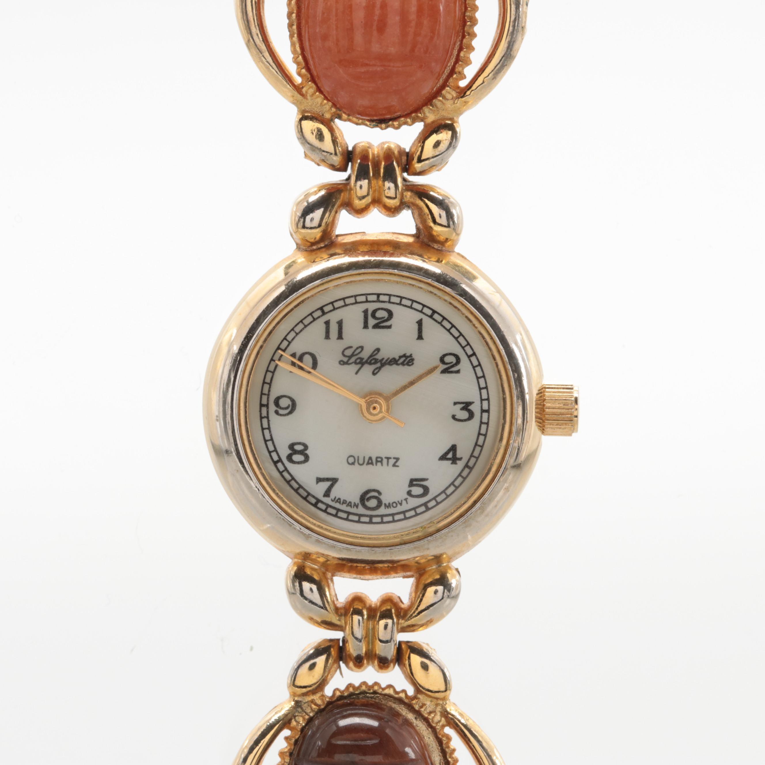 Lafayette Quartz Wristwatch With Gemstone Scarab Bracelet