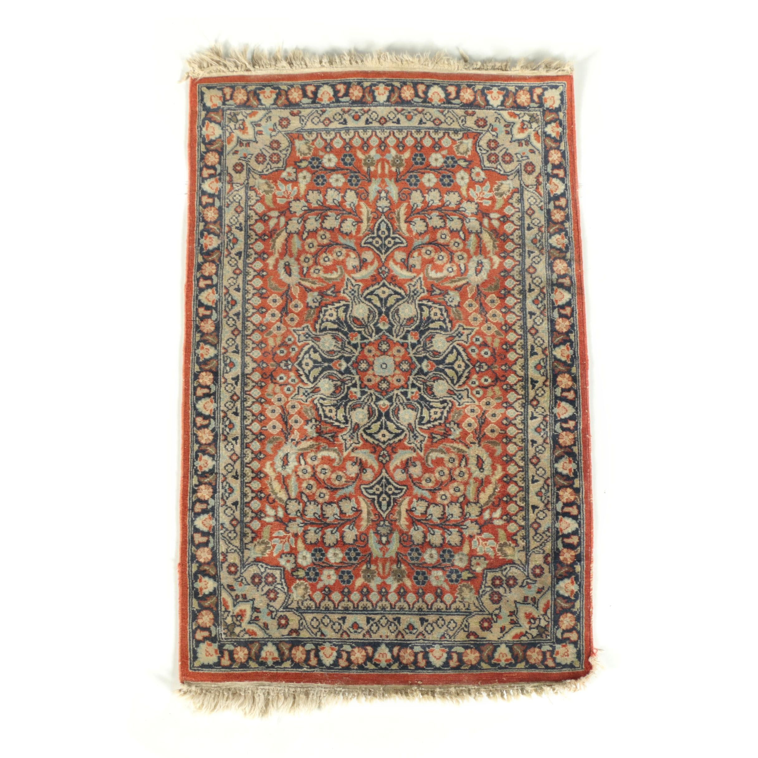 Semi-Antique Hand-Knotted Persian Sarouk Wool Rug