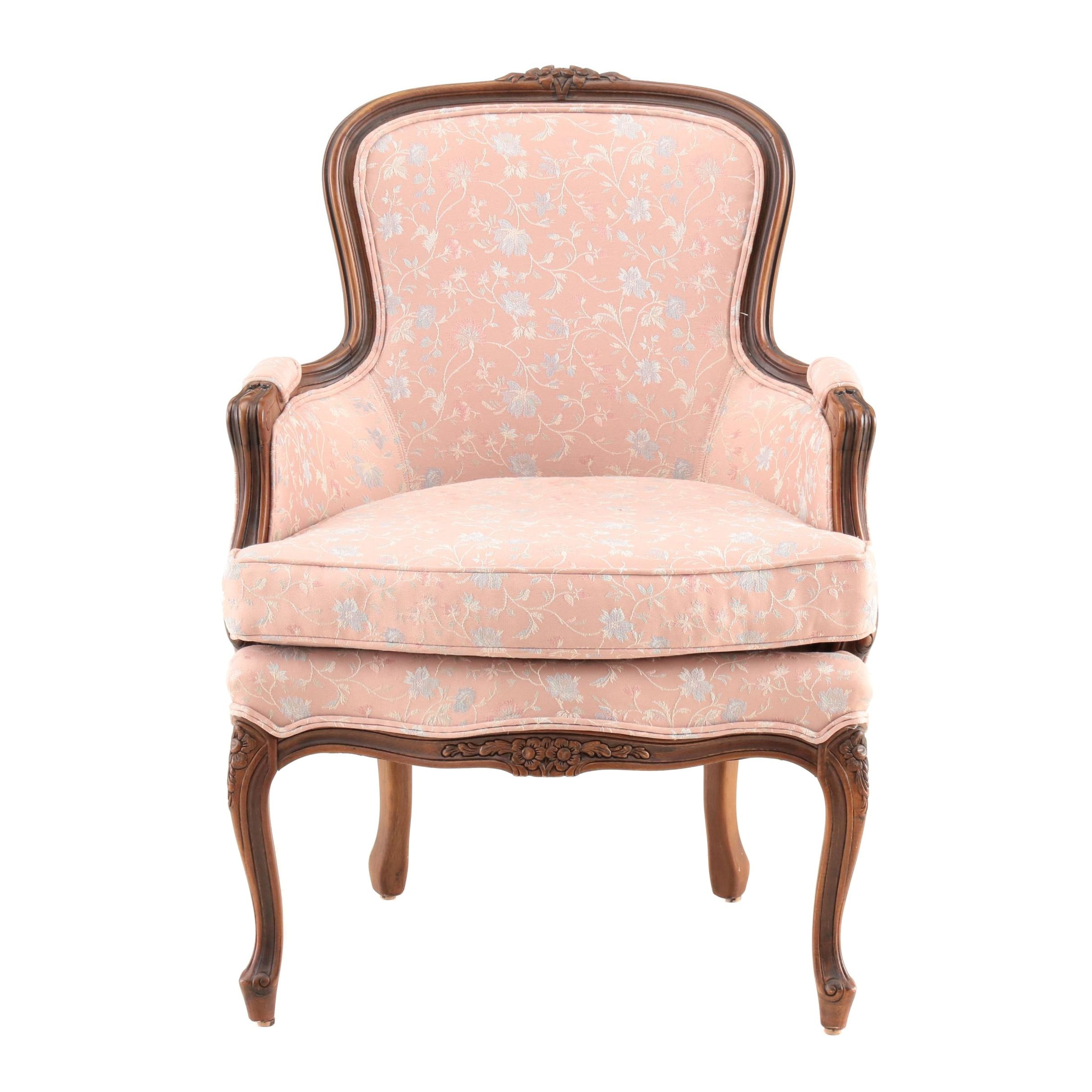 Louis XV Style Walnut and Upholstered Bergere, Late 20th Century
