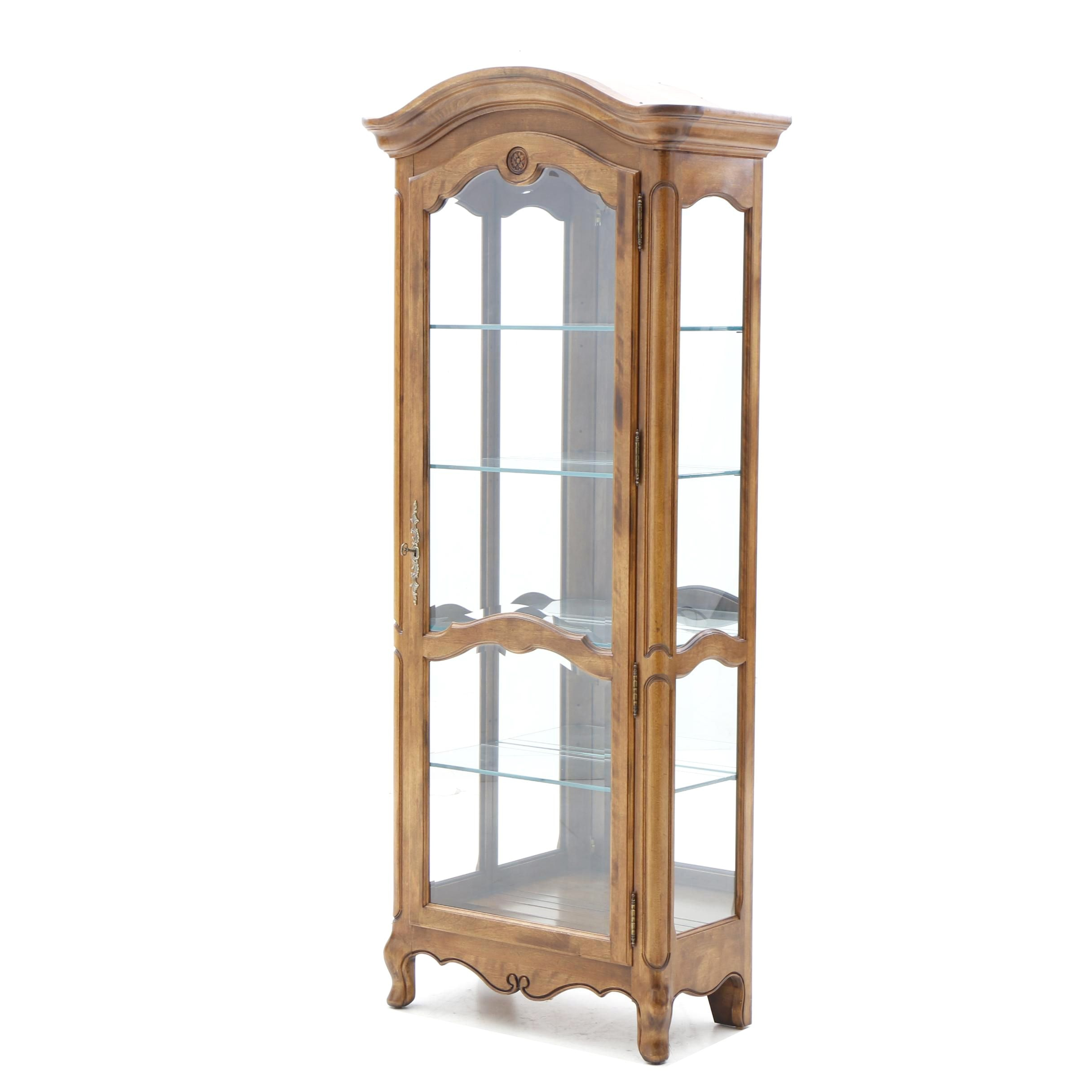 French Provincial Maple Display Cabinet by Ethan Allen, 20th Century