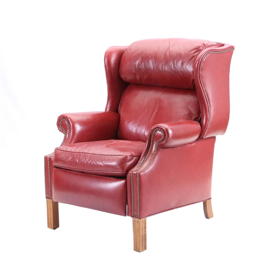 Pleasant Federal Style Wingback Leather Recliner By Ethan Allen Late 20Th Century Short Links Chair Design For Home Short Linksinfo