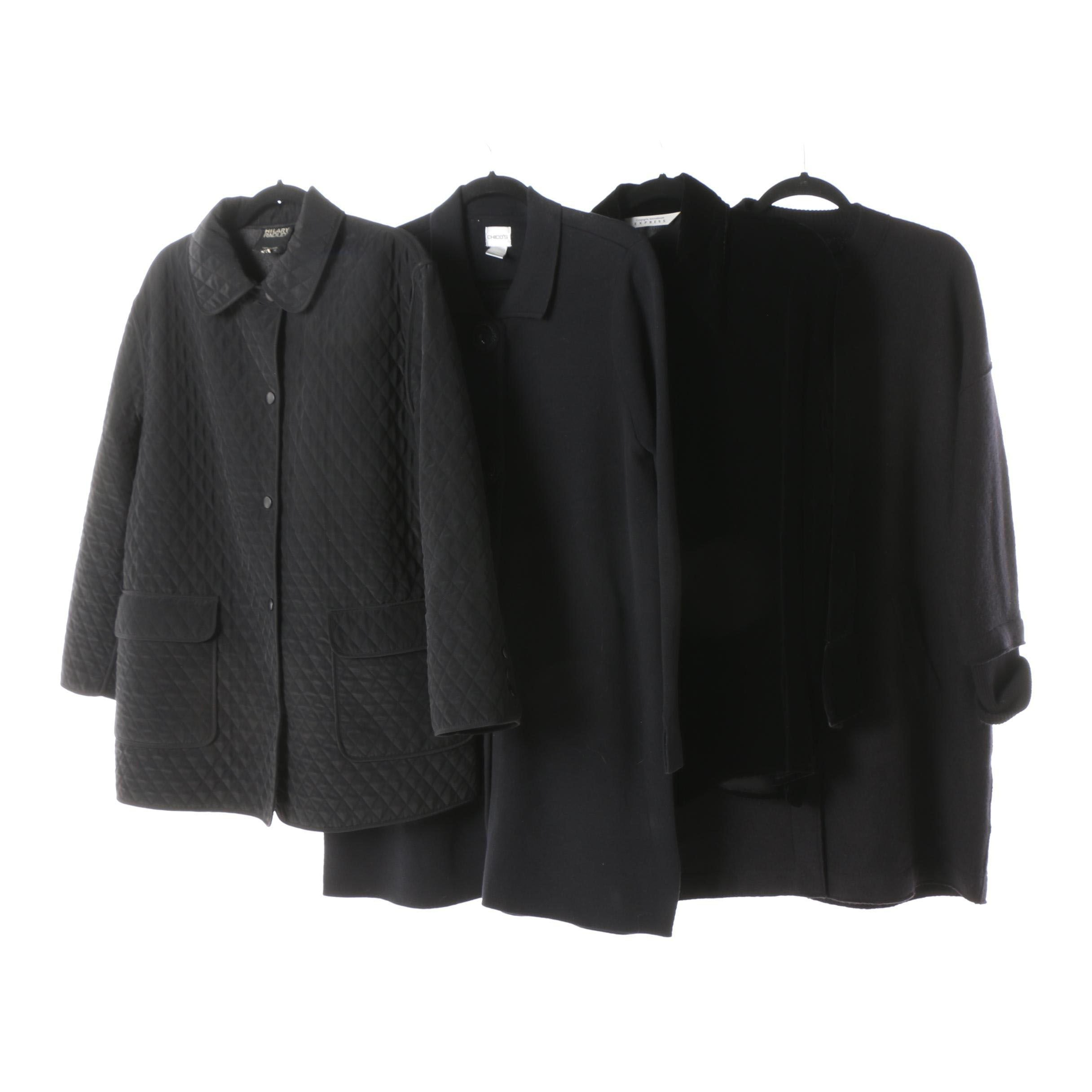 Women's Hilary Radley, Chico's, Express and Eileen Fisher Black Jackets