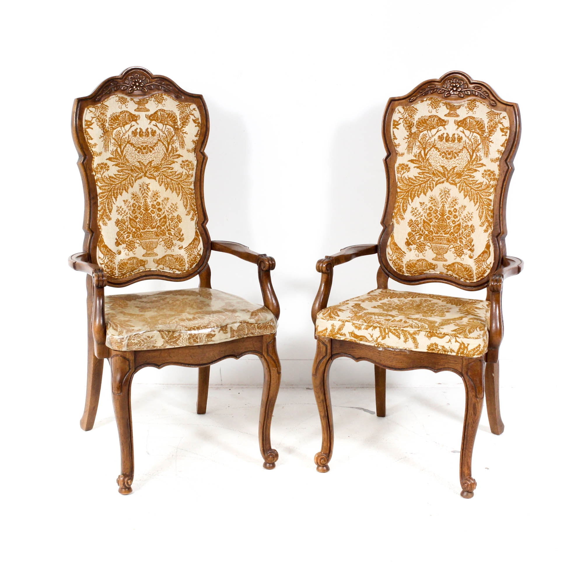 Vintage Wood Upholstered Arm Chairs