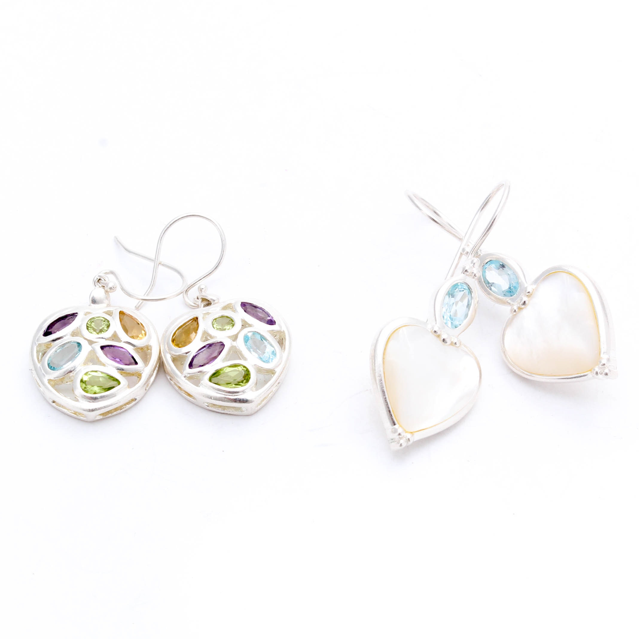 Sterling Silver Gemstone Earrings with Sterling and Mother of Pearl Earrings