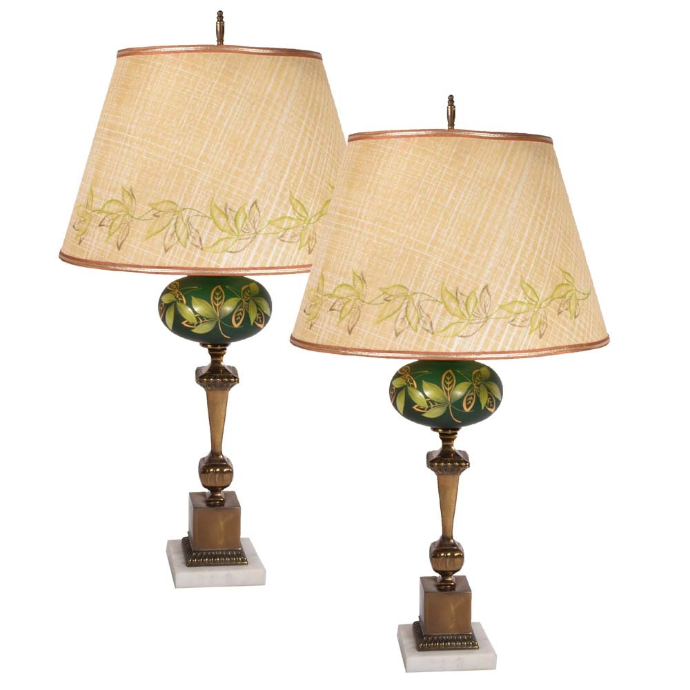 Mid Century Hand-Painted Table Lamps