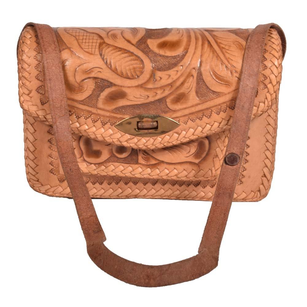 Vintage Tooled Leather Shoulder Bag
