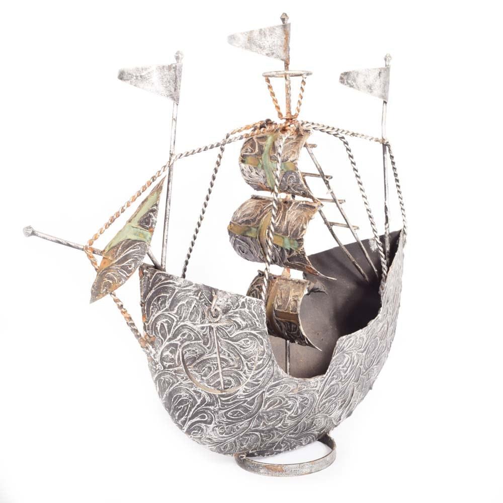 Mid-Century Metal Ship Sculpture