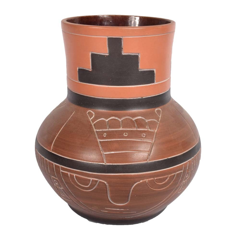 Signed Mexican Earthenware Planter or Lamp Base