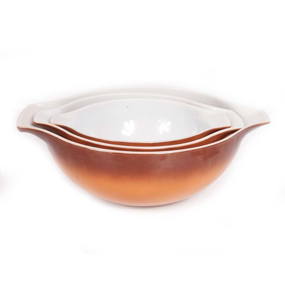 "Vintage Pyrex ""Old Orchard"" Pattern Cinderella Mixing Bowls"