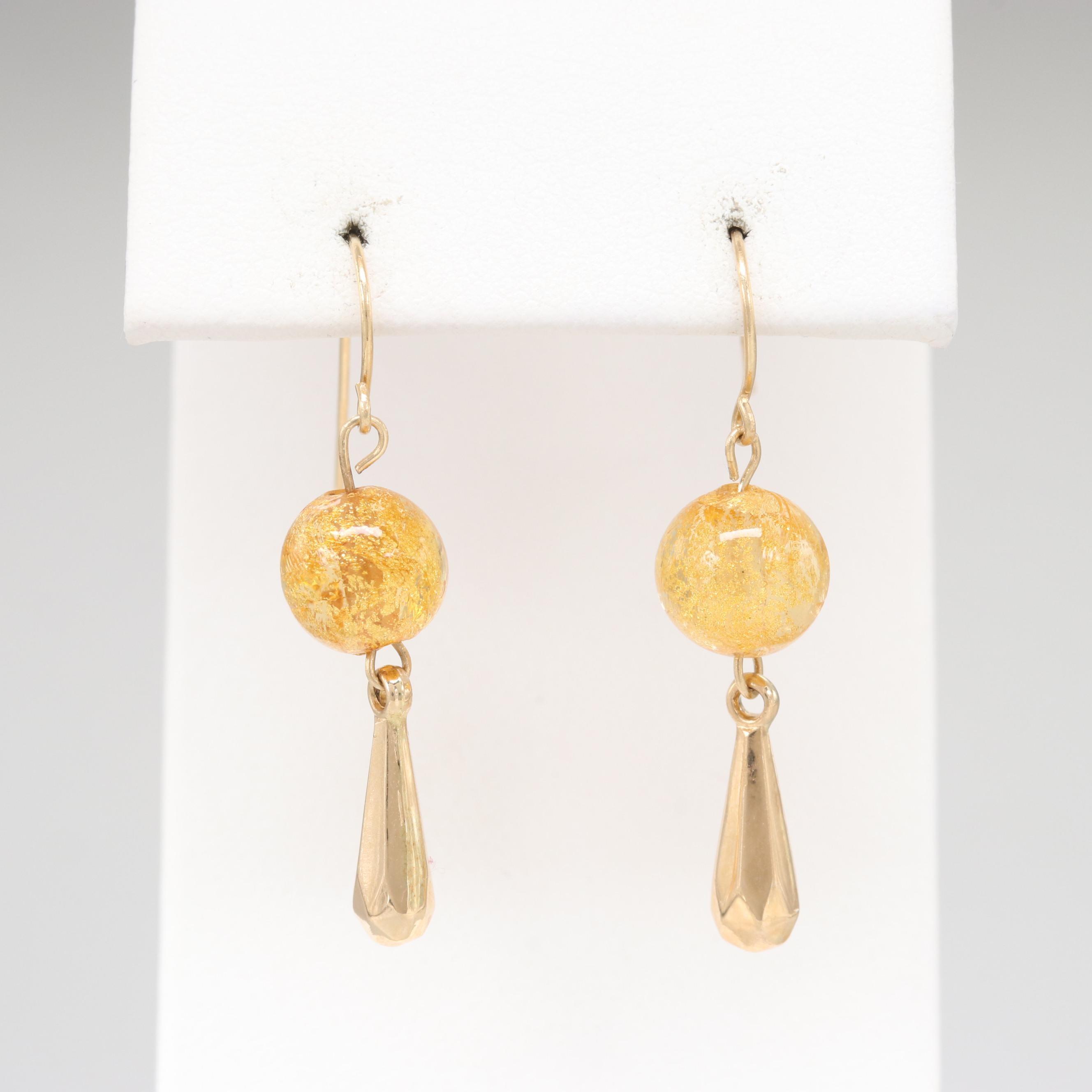 14K Yellow Gold Glass Dangle Earrings