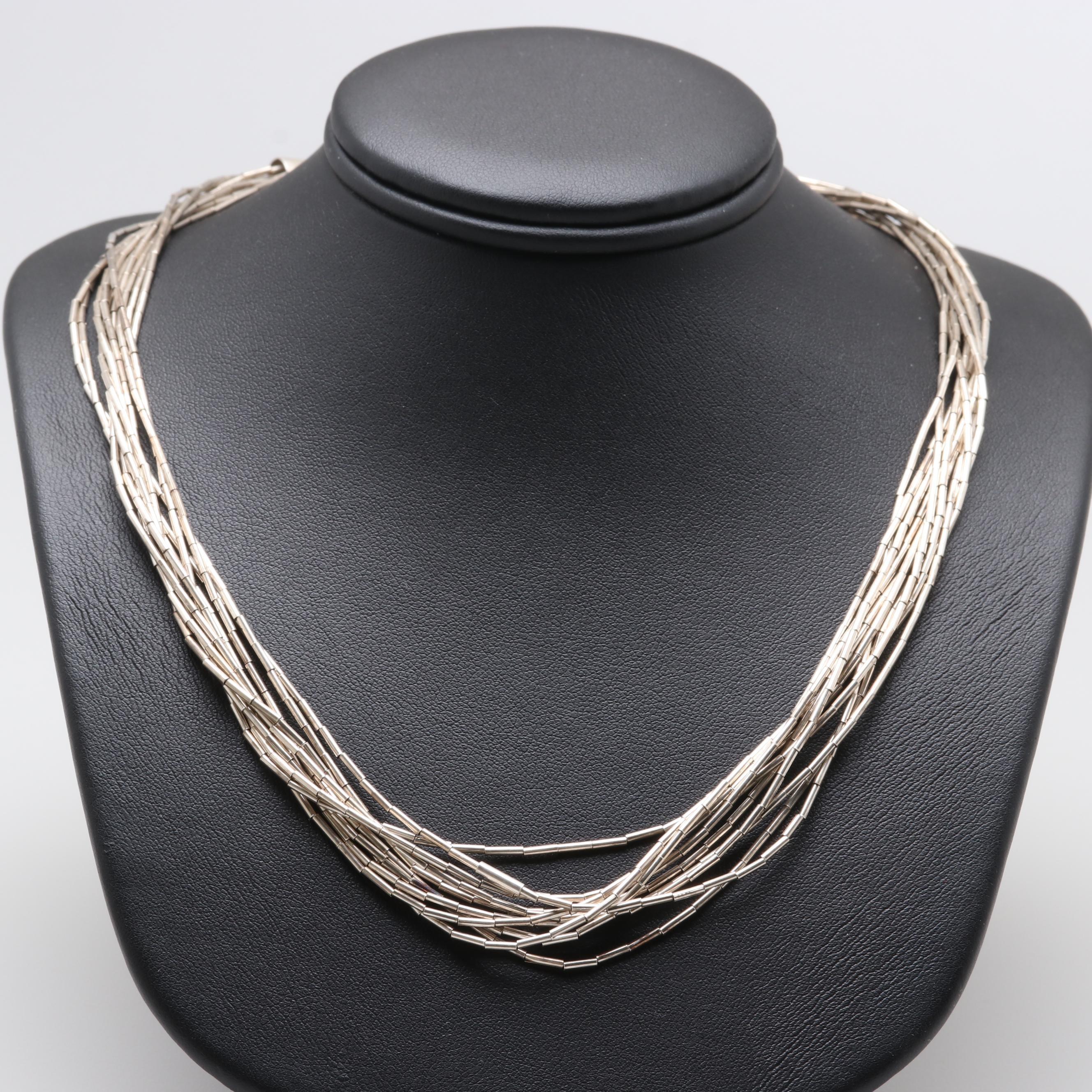 Sterling Silver Ten Strand Liquid Silver Necklace