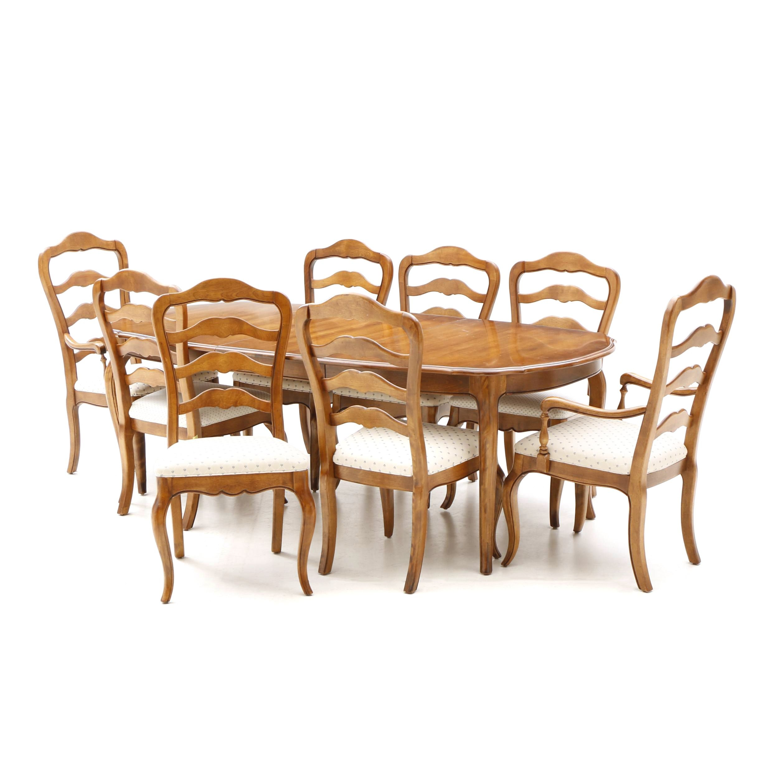 French Provincial Style Maple Finish Dining Set by Ethan Allen, 20th Century