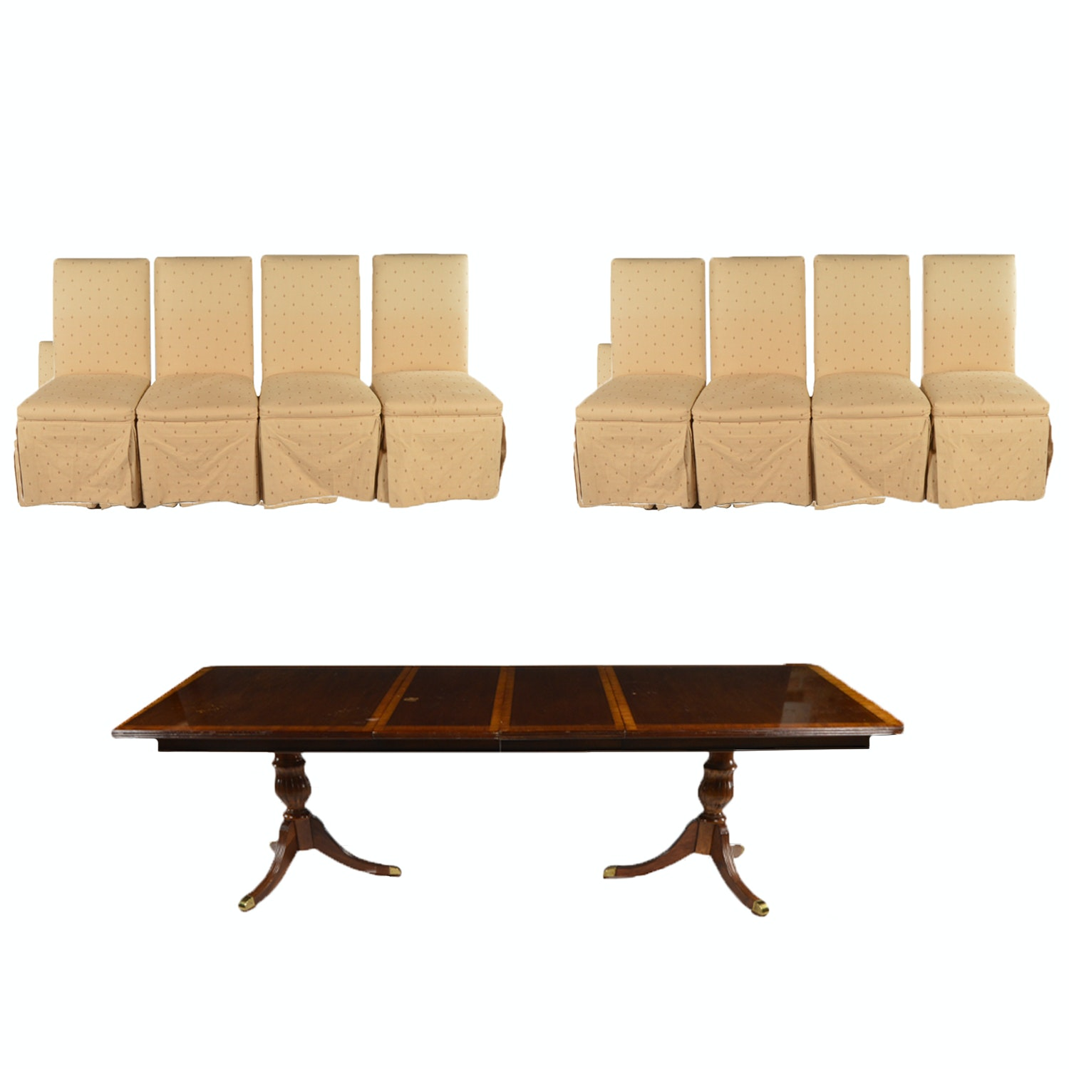 Federal Style Mahogany Dining Table with Upholstered Side Chairs, 20th Century