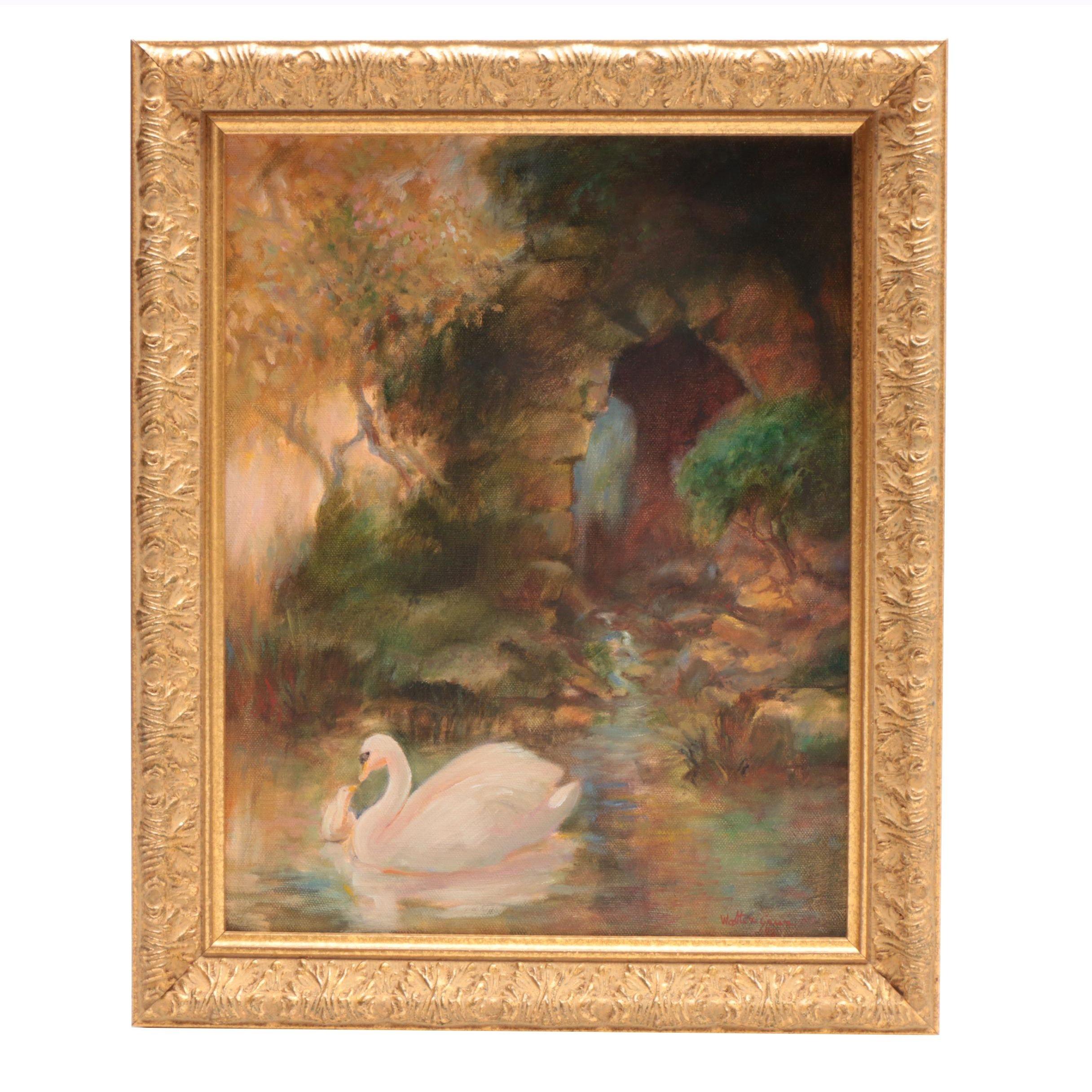 """Walter Greer Oil Painting """"Swan and Cygnet"""""""
