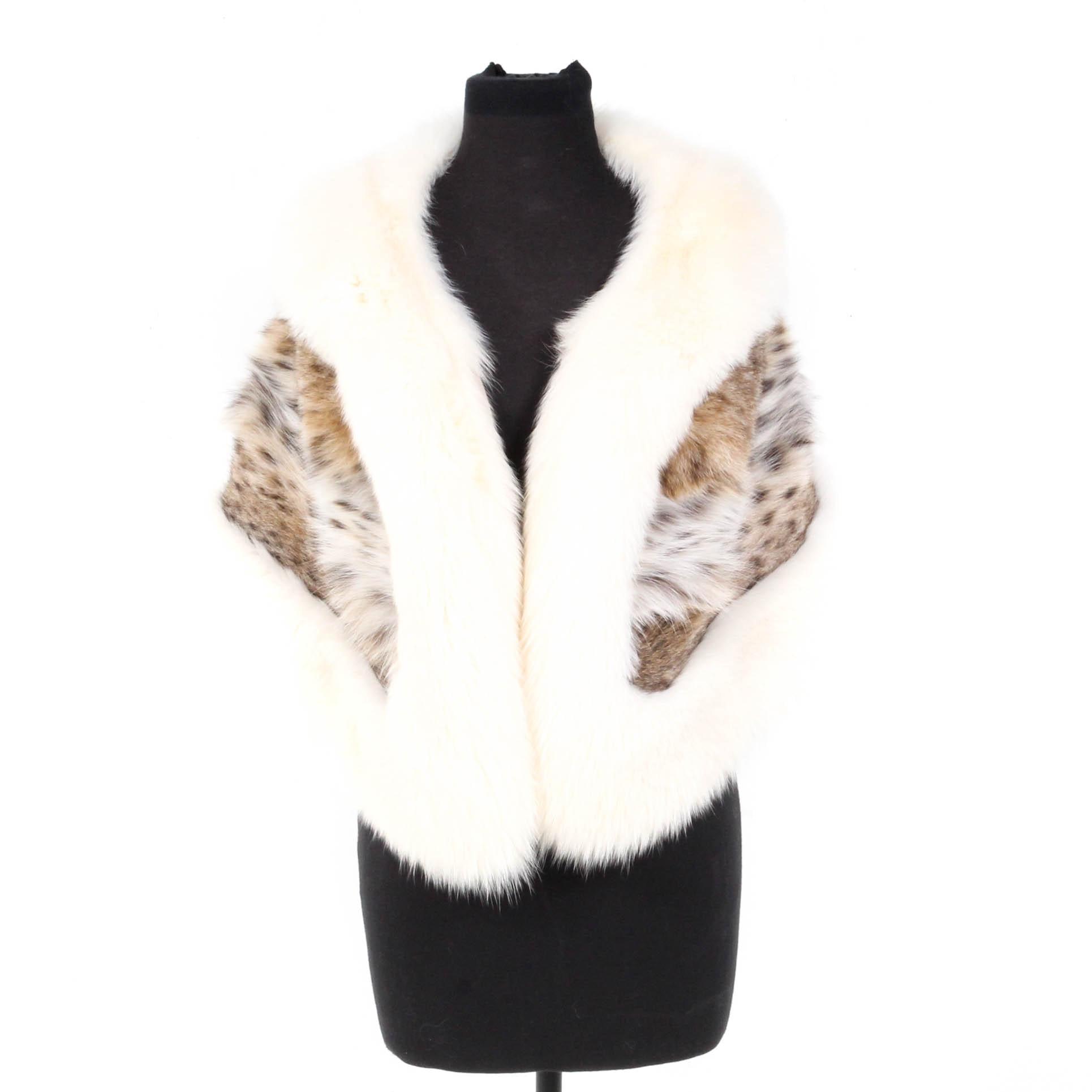 Zandra Rhodes American Lynx and Blue Fox Fur Stole
